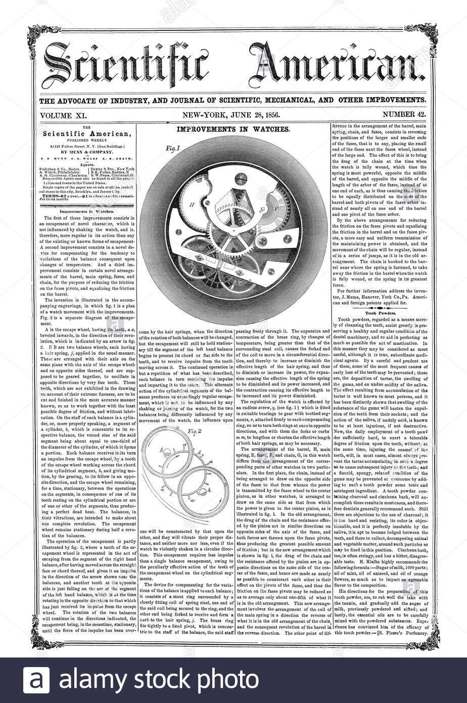 der anwalt der industrie und journal fur mechanische und andere verbesserungen band xi new york vom 28 juni 1856 nummer 42 verbesserungen in der uhren scientific american von munn pany 0d muse s h wales a n strand verbesserungen in wicken zahn pulvern 56 06 28 2abtwgt