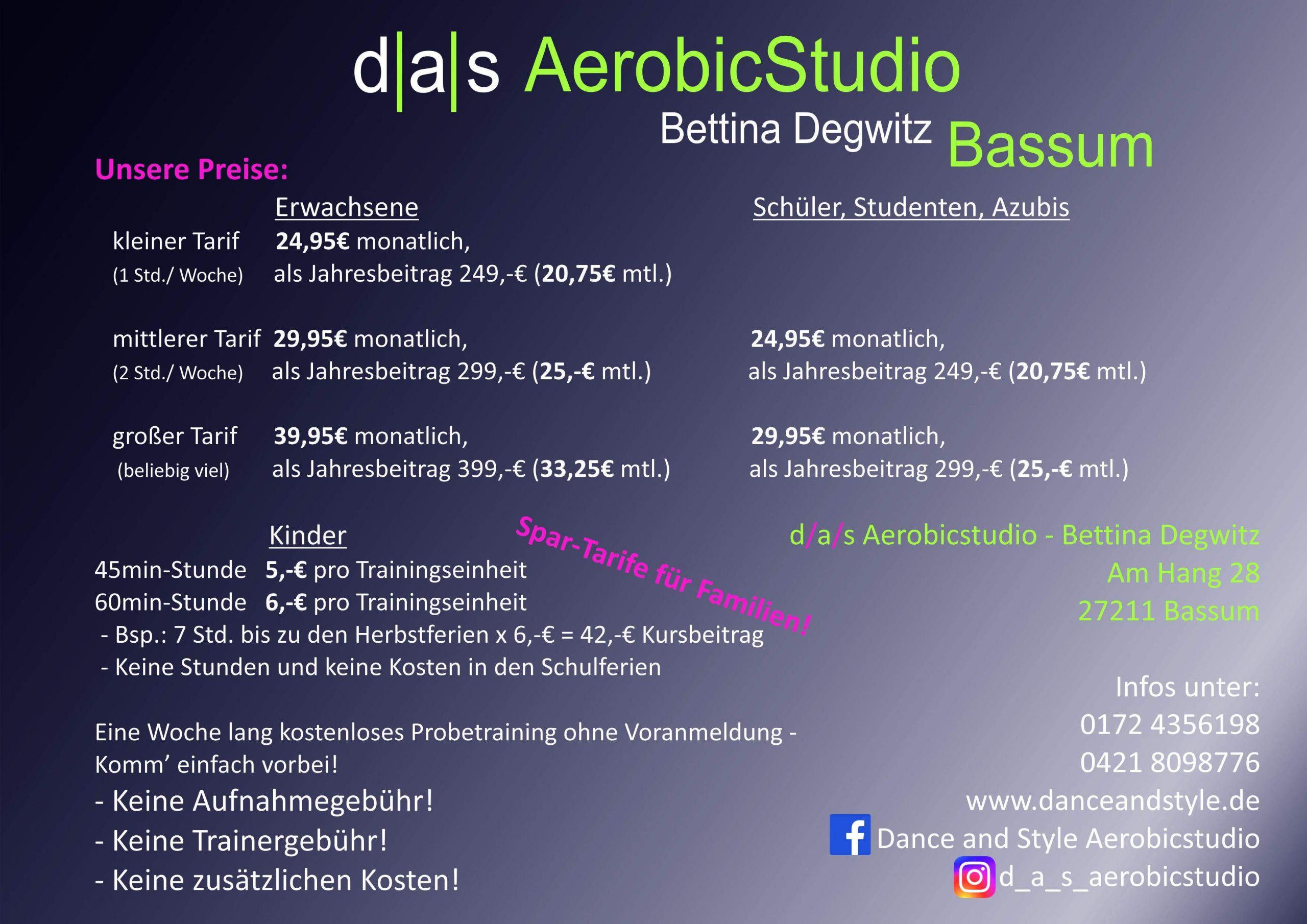 Trainingsplan Bassum 2019 Rückseite