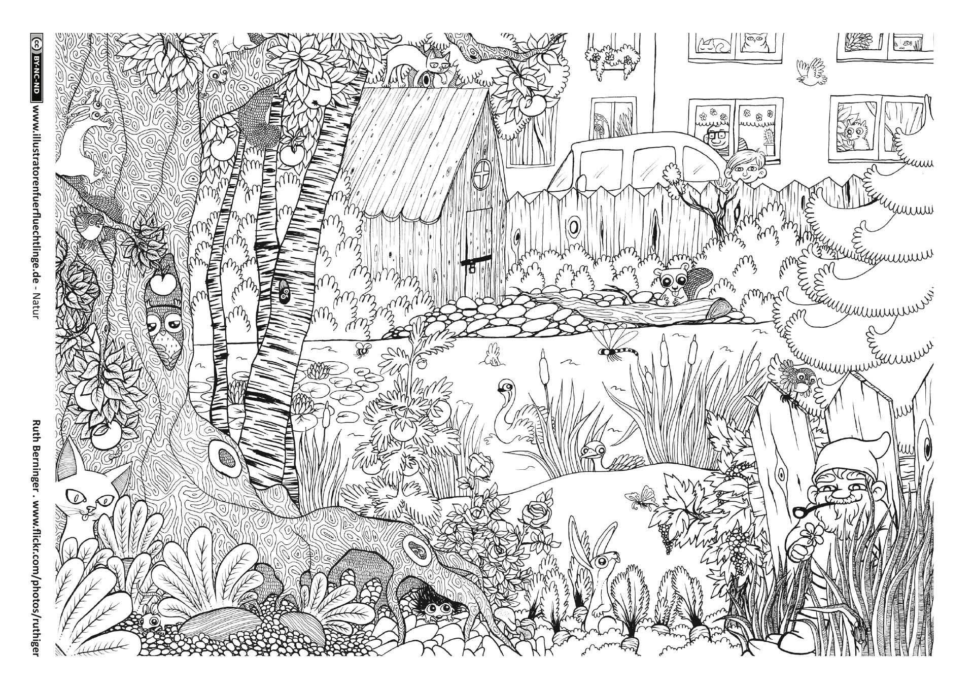 Ausmalbilder Garten Einzigartig Garten Tiere Wimmelbild …