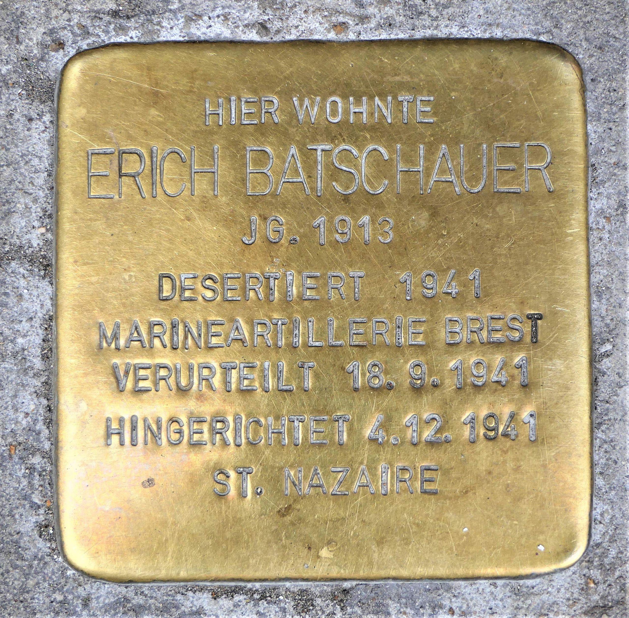 Stolperstein für Erich Batschauer Brunnenstrasse 31 Bad Cannstatt Stuttgart JPG