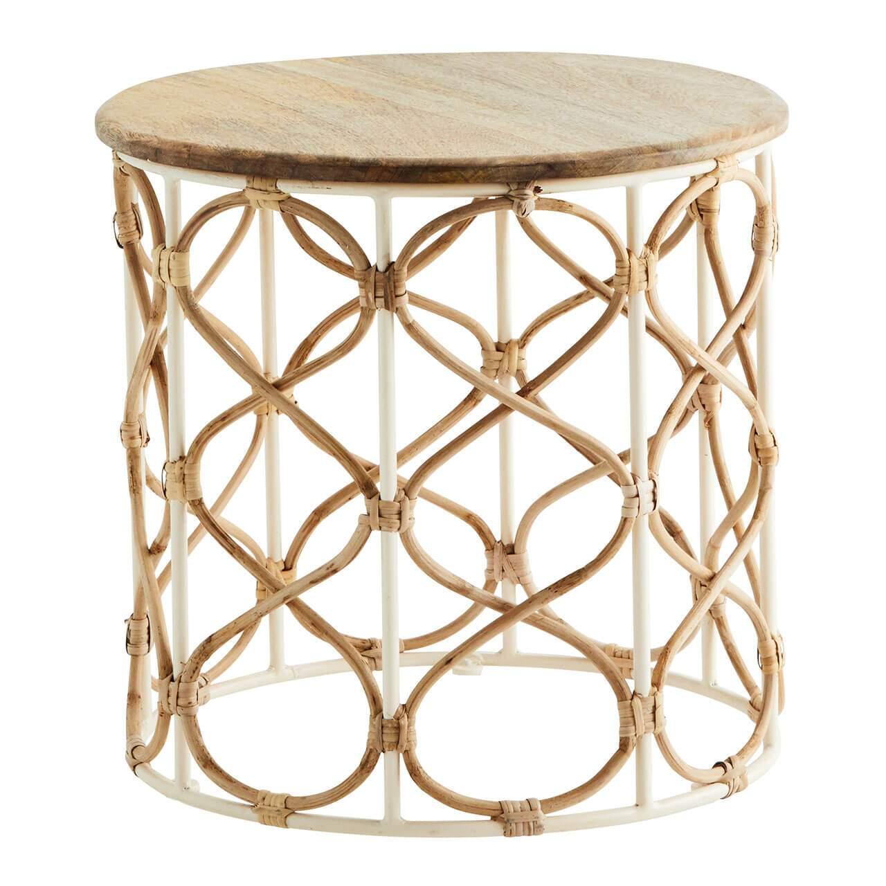 madam stoltz beistelltisch metall mit bambus