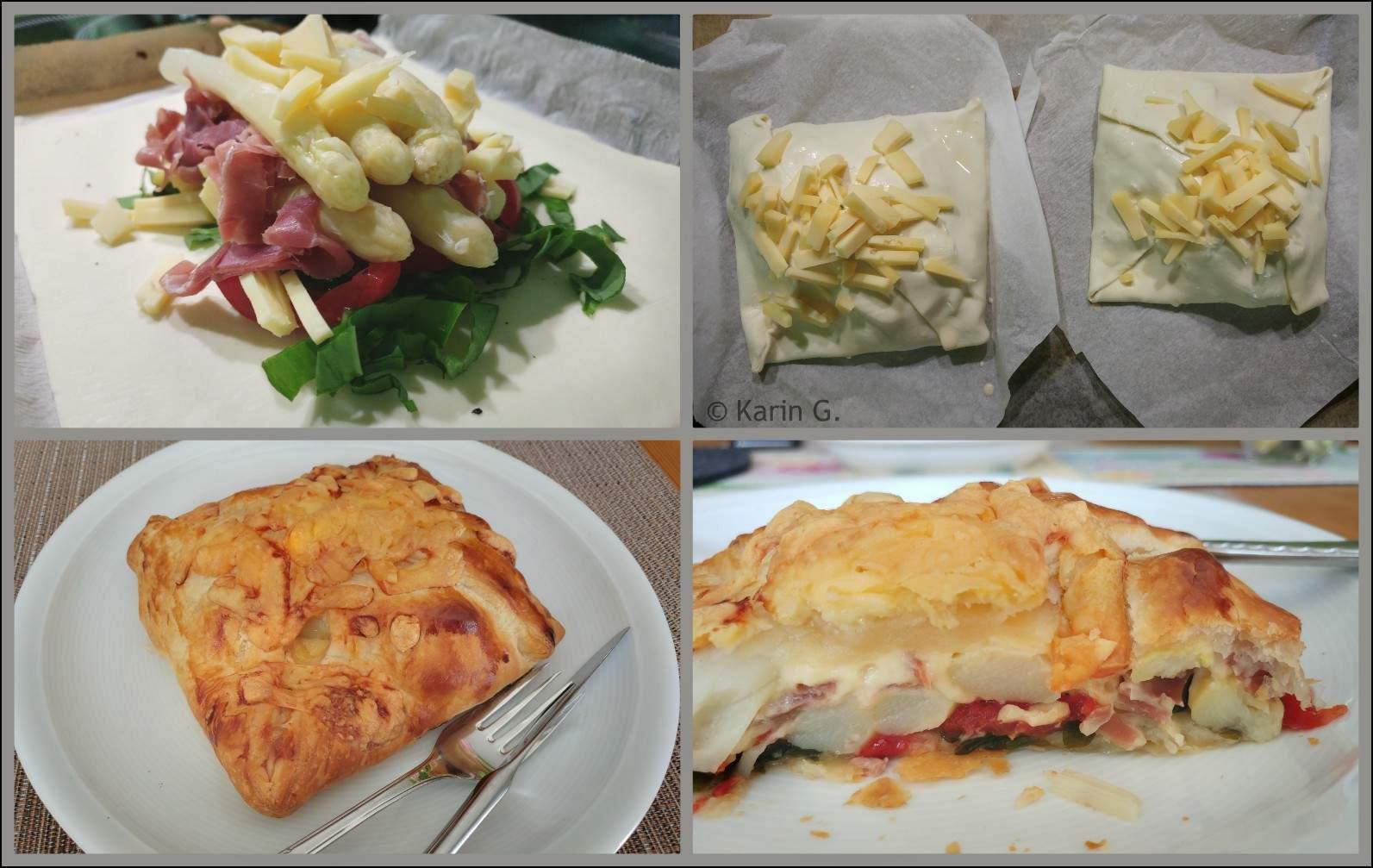 Spargel Bärlauch Blätterteig Tomate Parma Gouda Collage