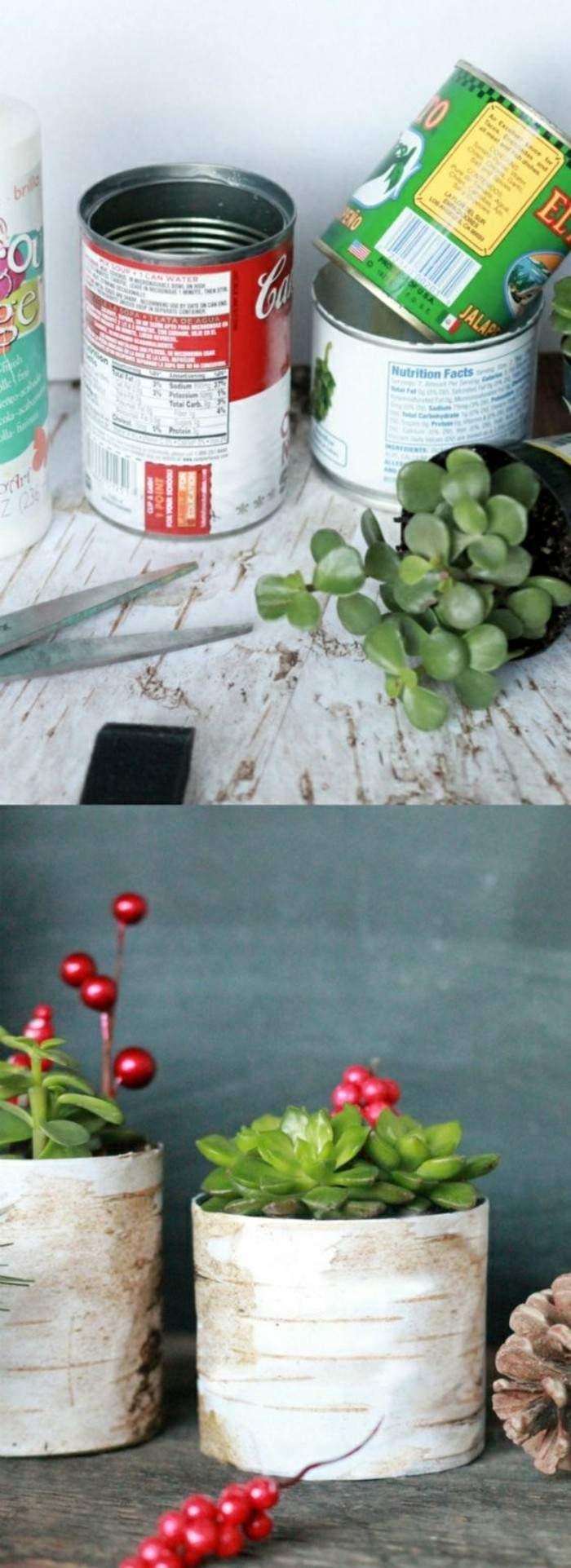 kreatives basteln konservendose schere gr C3 BCne pflanze tannenzapfen blument C3 B6pfe