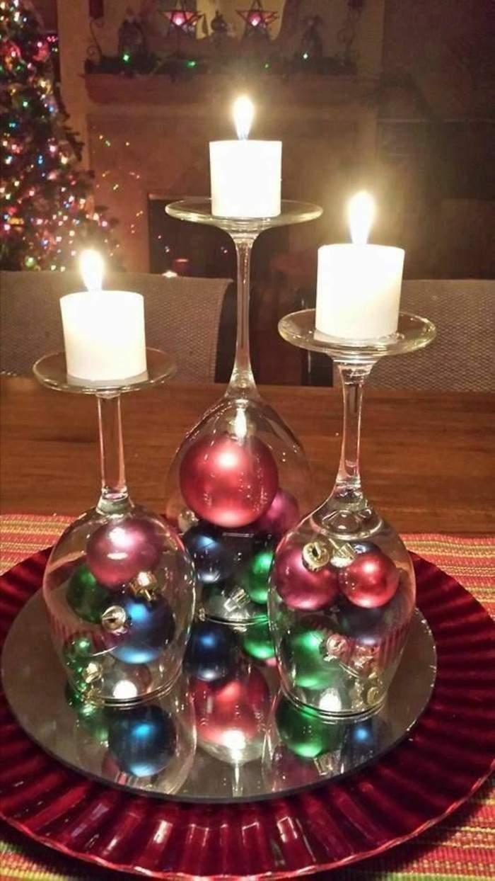 Tischdeko basteln aus Gl C3 A4sern und Kerzen