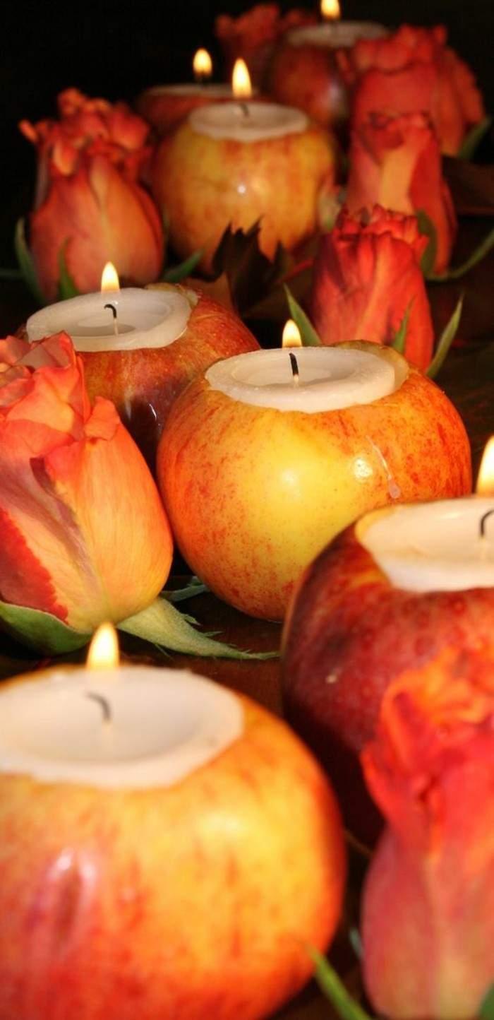 Tischdeko basteln Apfeln und Kerzen
