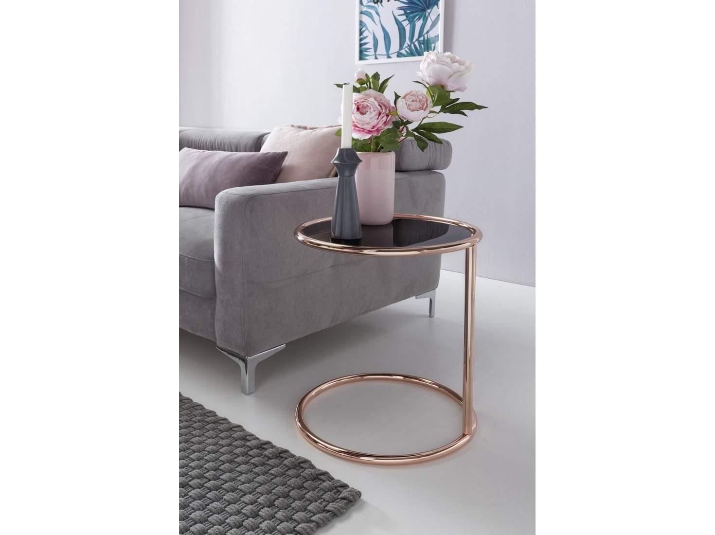 Design Beistelltisch Metall Glas Schwarz Kupfer Wohnzimmertisch verspiegelt Couchtisch modern Glastisch b4