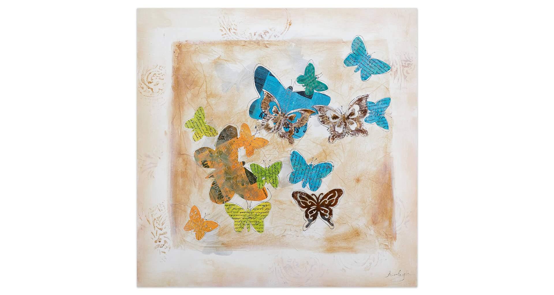 kl schmetterling wanddeko deko vintage abstrakt modern acryl gemaelde oel bild 01