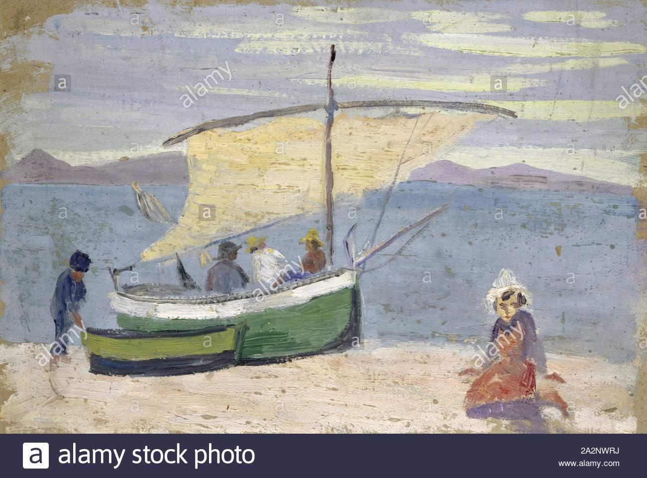 fischerboot am strand ol auf karton 285 x 425 cm ernst schiess basel 1872 1919 valencia 2a2nwrj