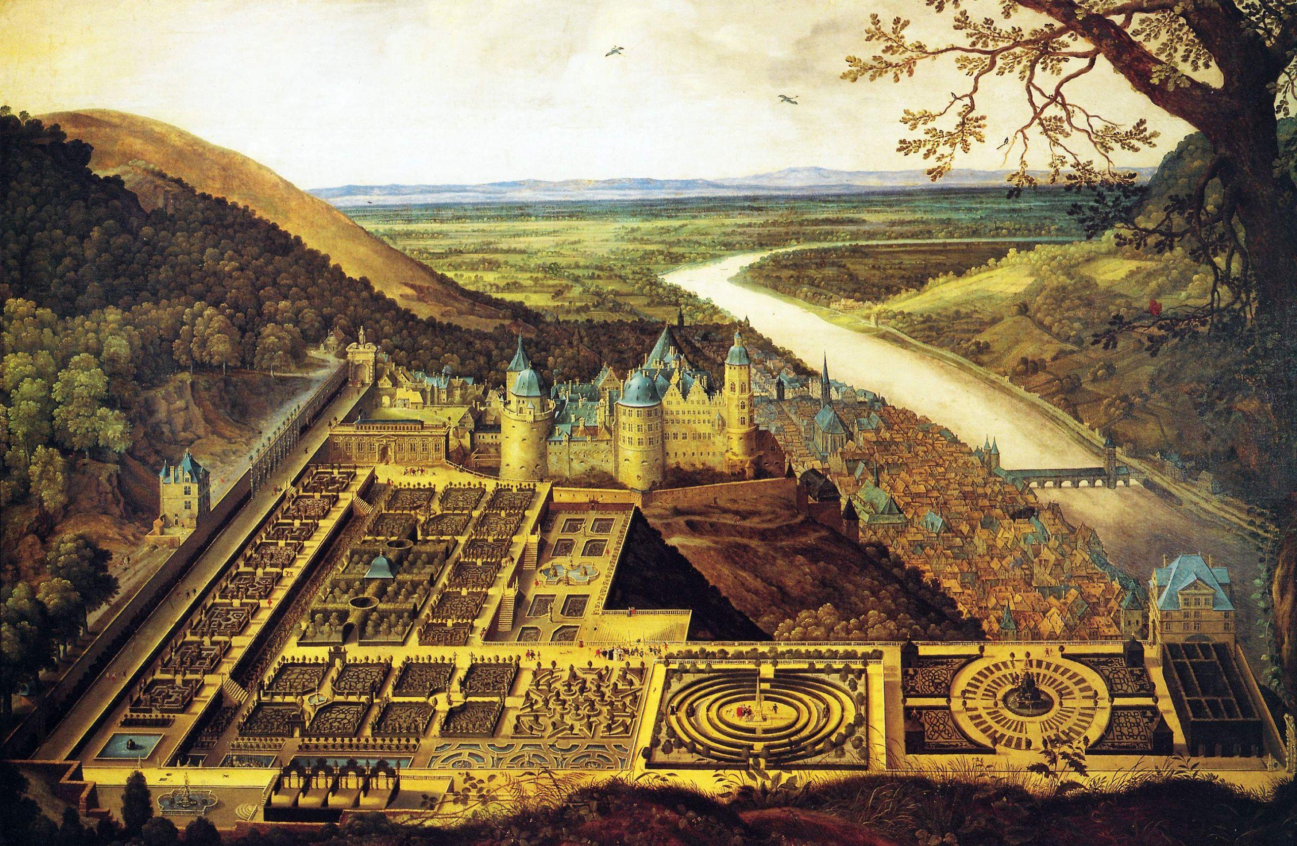 Hortus Palatinus und Heidelberger Schloss von Jacques Fouquiere