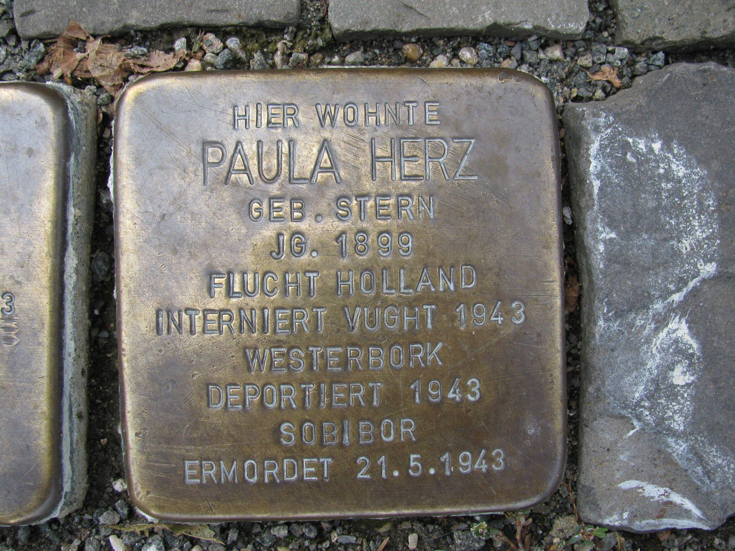Stolperstein Paula Herz 1 Weststraße 30 Schmallenberg Hochsauerlandkreis