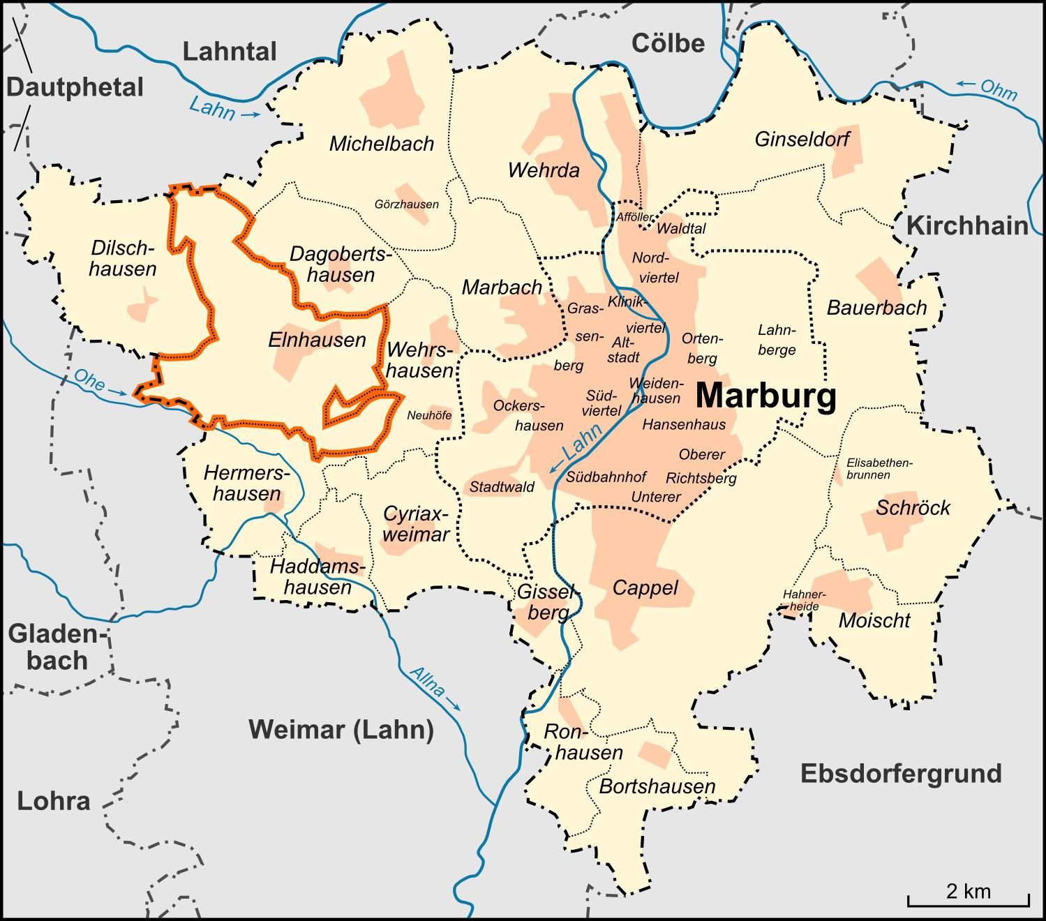 Karte Marburg Stadtteil Elnhausen