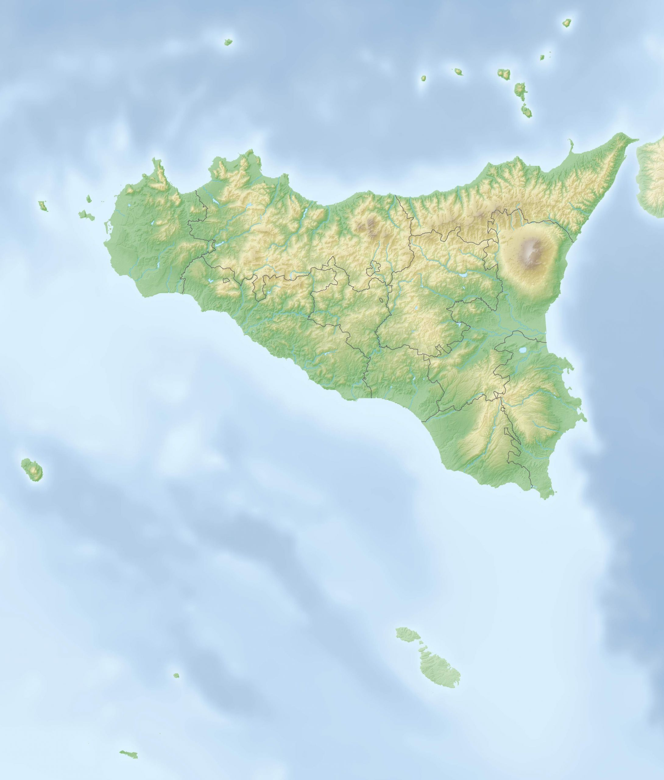 Relief map of Italien Sizilien