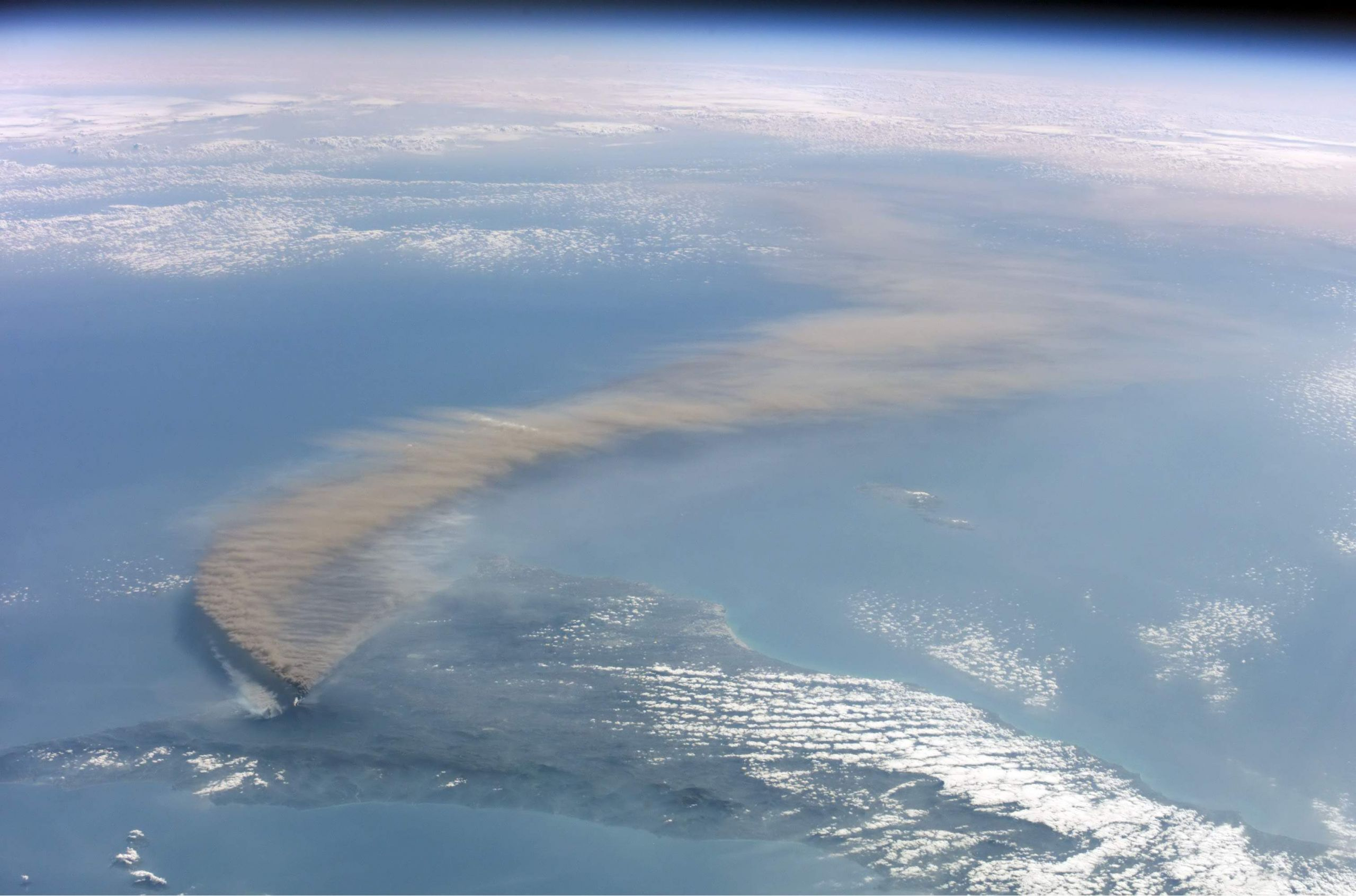 Etna smoke seen from space