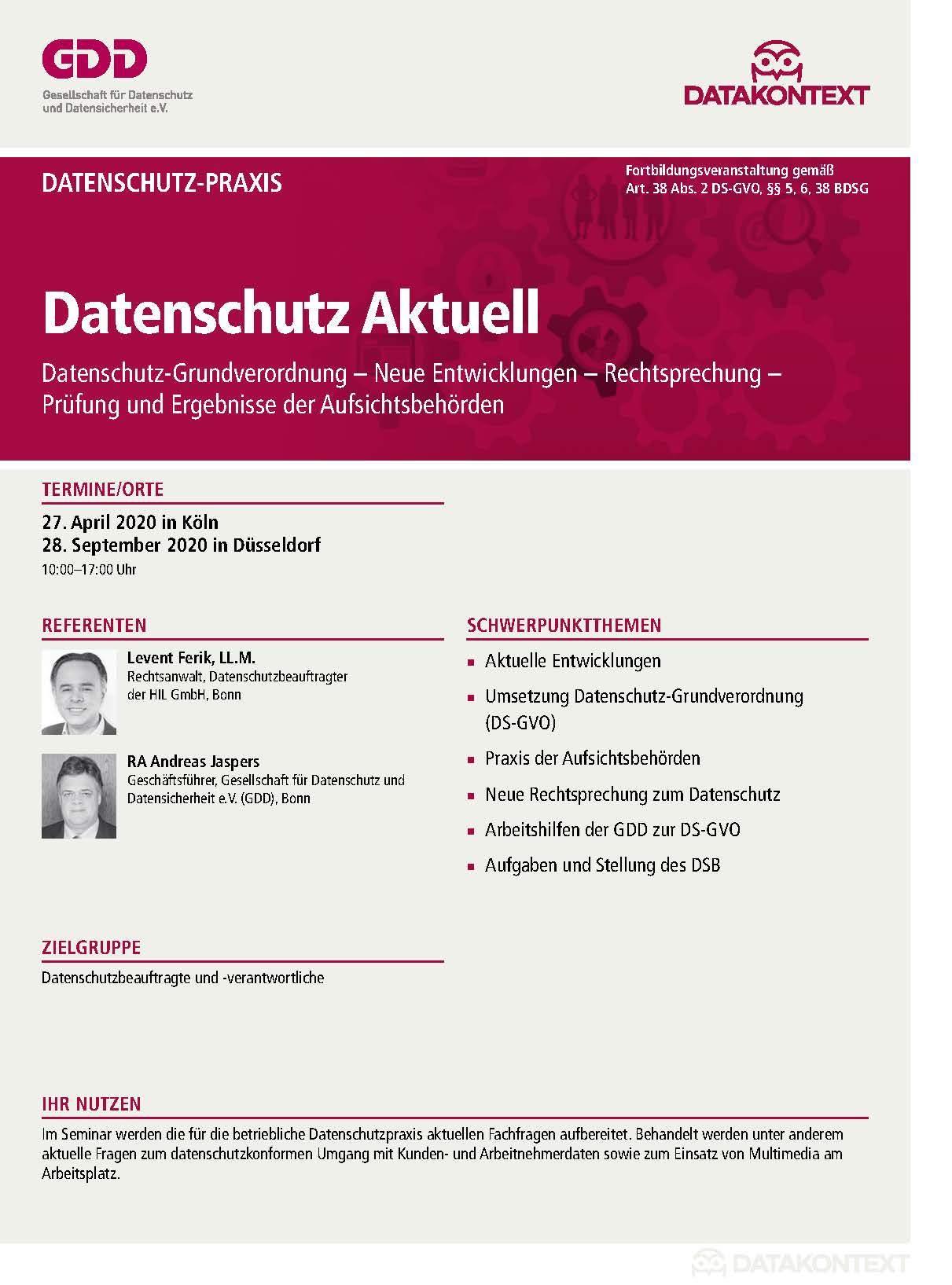 Datenschutz Aktuell 2019