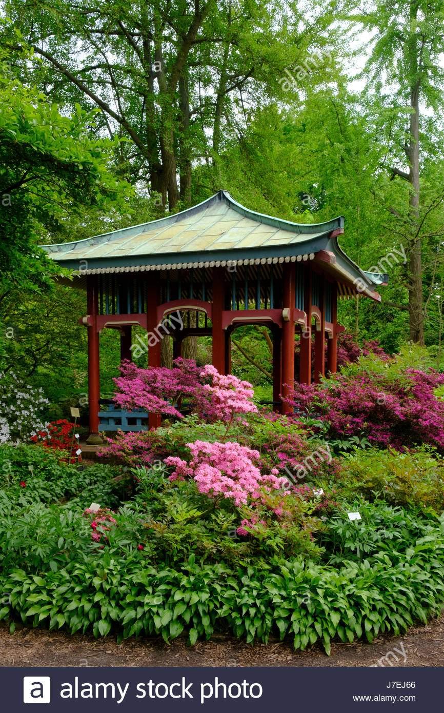 asiatischen stil pavillon im berliner botanischen garten in dahlem berlin deutschland j7ej66