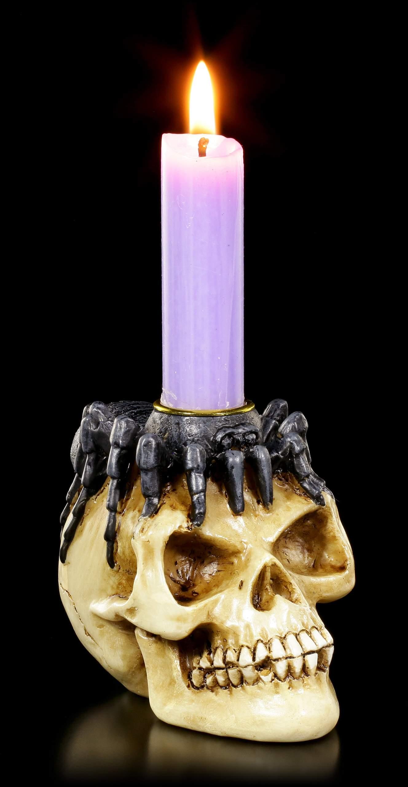 Kerzenhalter Totenkopf Mit Spinne Auf Kopf