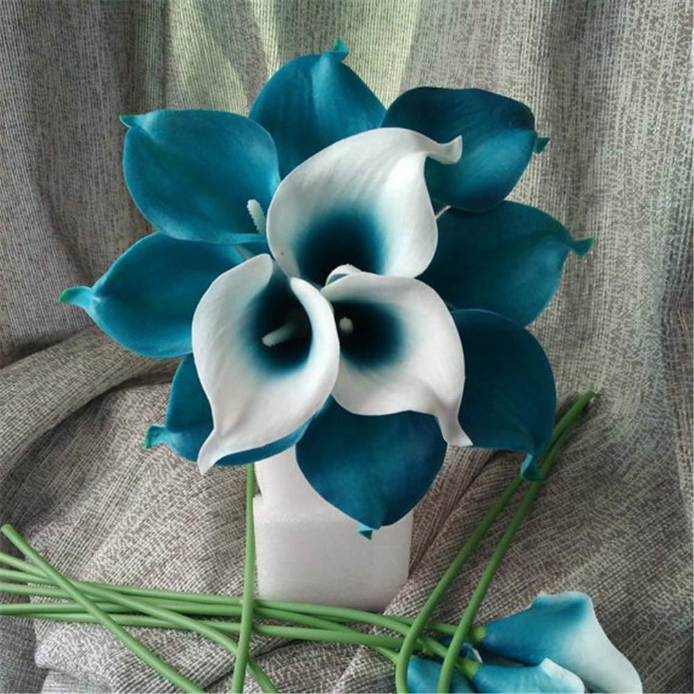 oasis teal hochzeit blumen teal blue calla