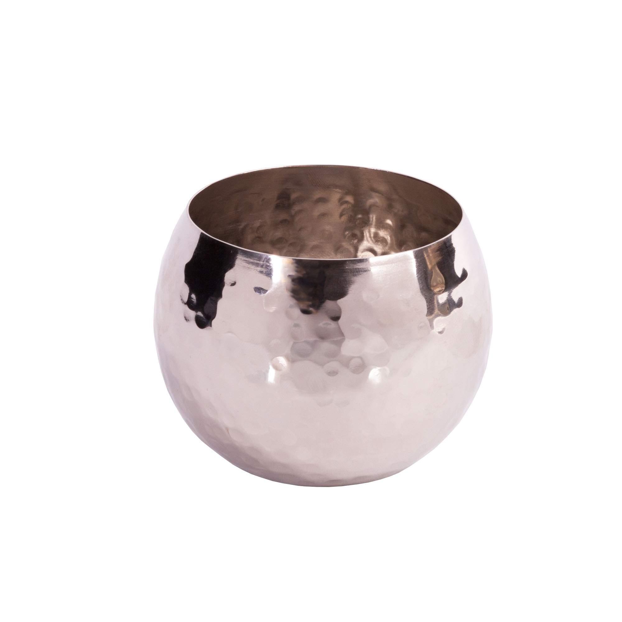 teelichthalter aus edelstahl gehammert 6 x 6 x 4 cm