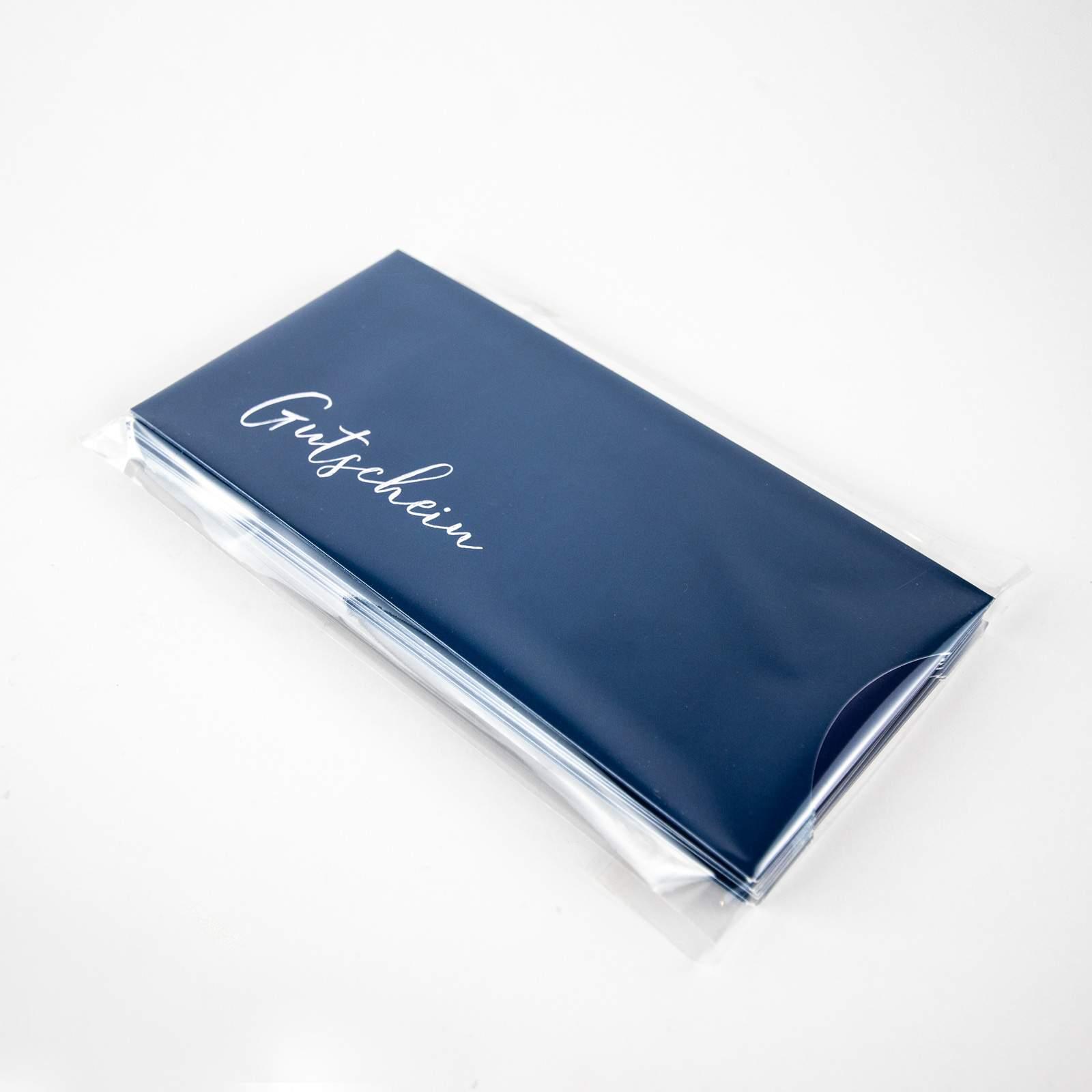 gutscheinkarten verpackung mit schuber blau