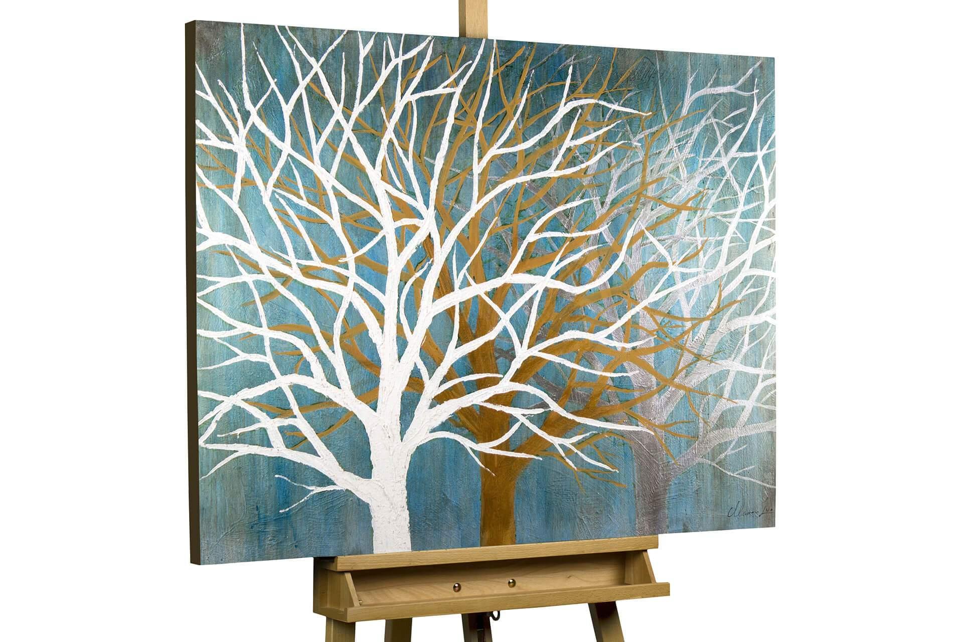 KL baum abstrakt petrol tuerkis beige winter modern acryl gemaelde oel bild oelgemaelde 01