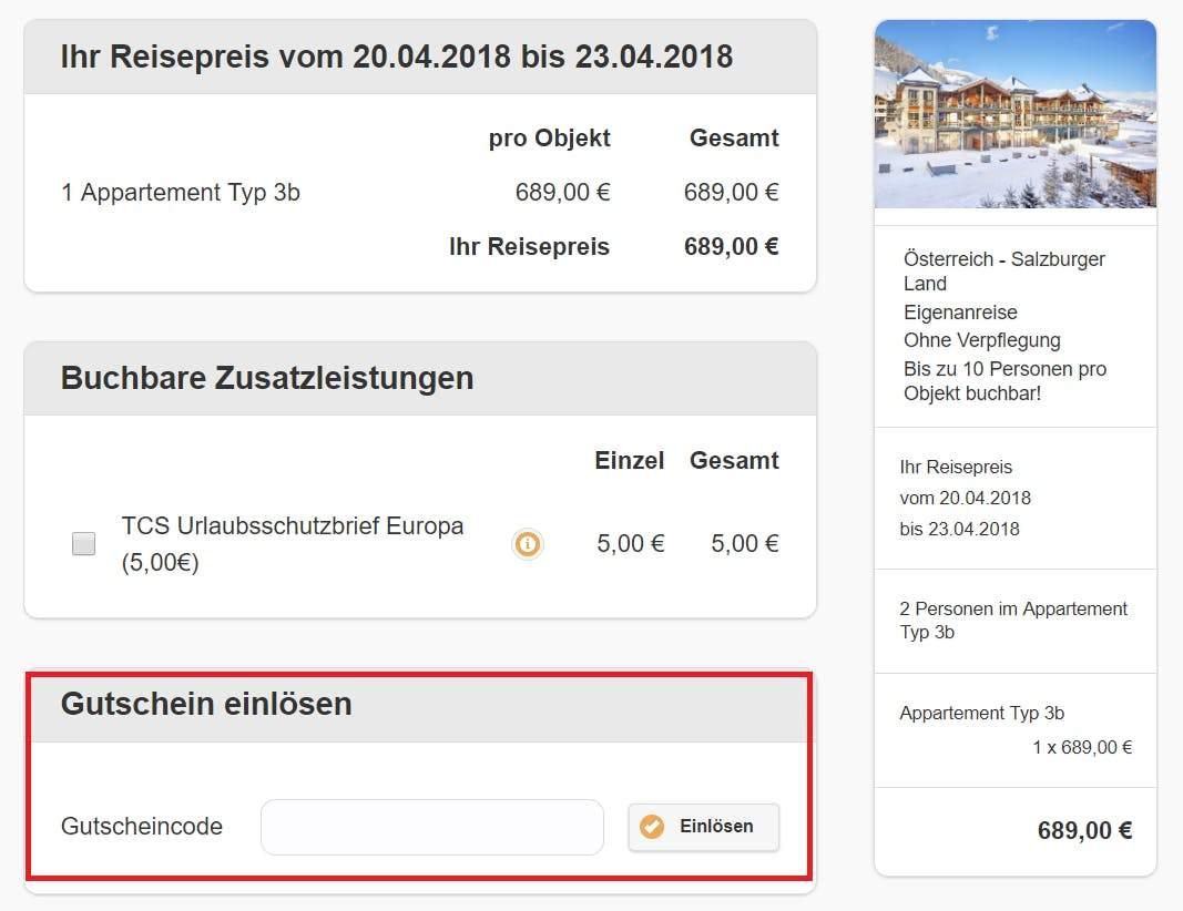 select holidays Warenkorb