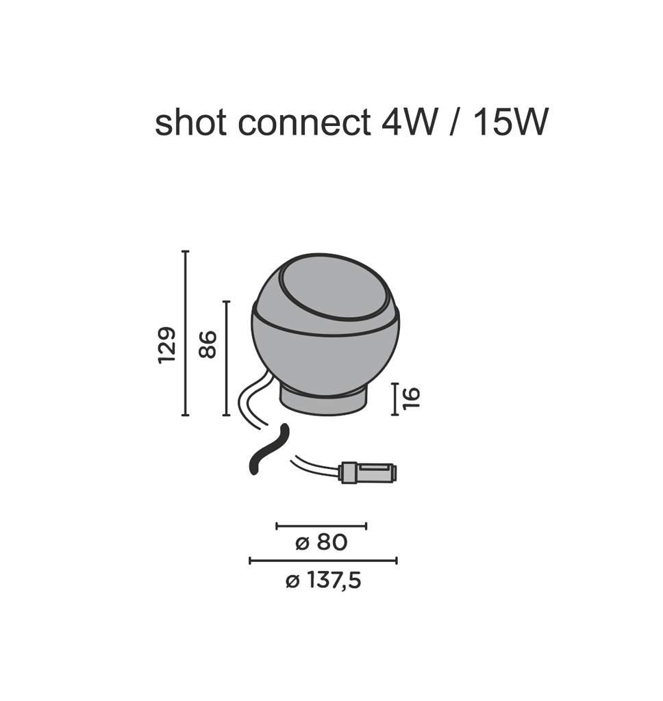 ip44 de shot connect bodenleuchte technische zeichnung