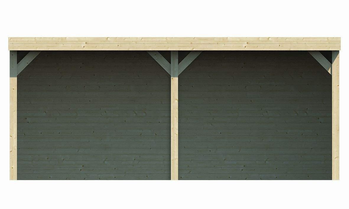 TUD 40 0896 Freisitz fene Scheune Alfsu 598 x 400 cm inkl Waende Flachdach Dachpappe Somm 2