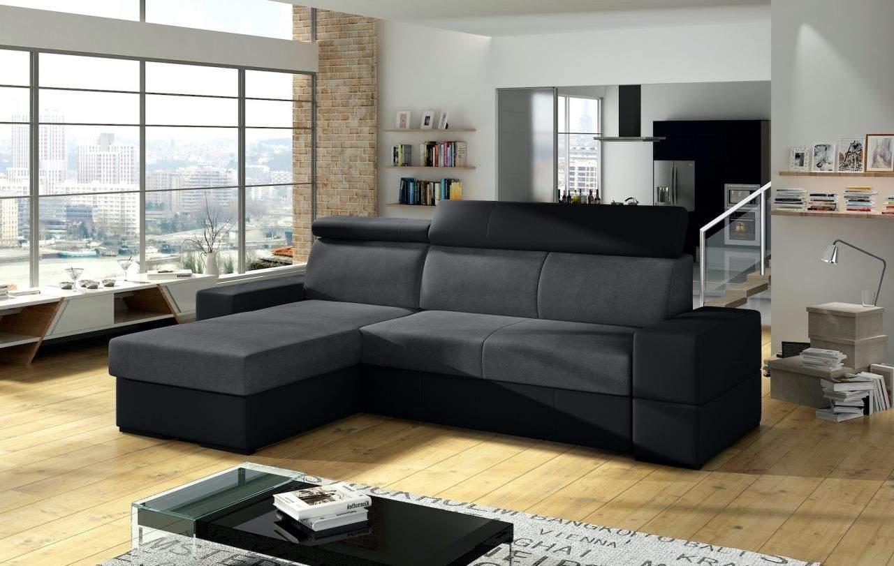ecksofa sofa marios mit schlaffunktion schwarz grau ottomane links