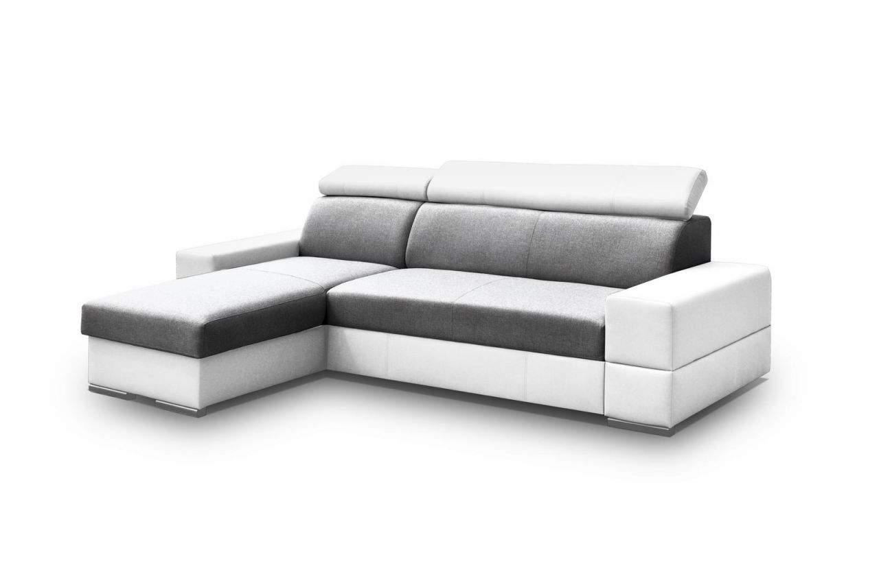ecksofa sofa marios mit schlaffunktion weiss grau ottomane links