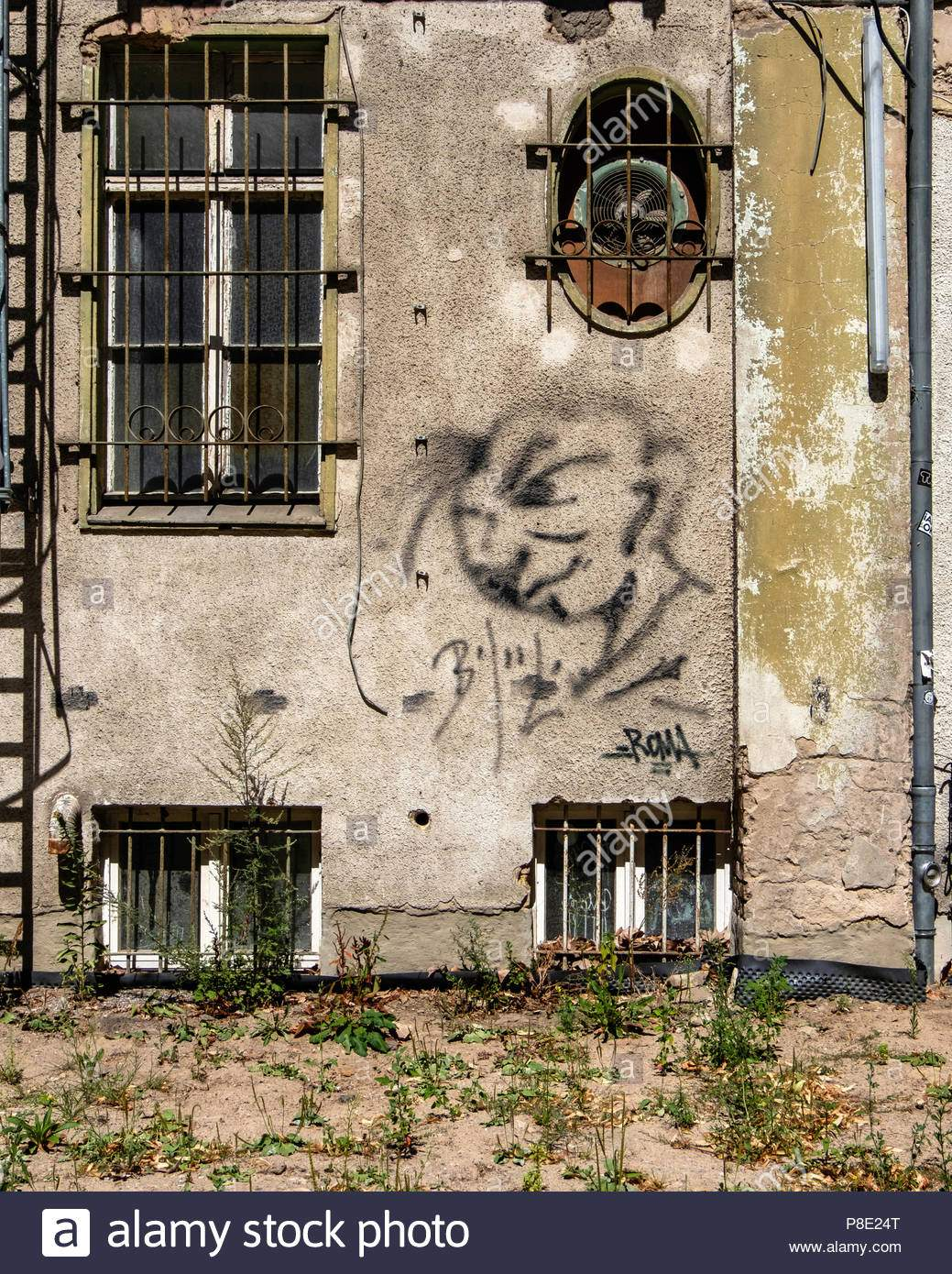 berlin prenzlauerberg prater garten ruckseite des alten verfallenen prater theater gebaude mit brockelnden putz alten lufter r ust unkraut p8e24t