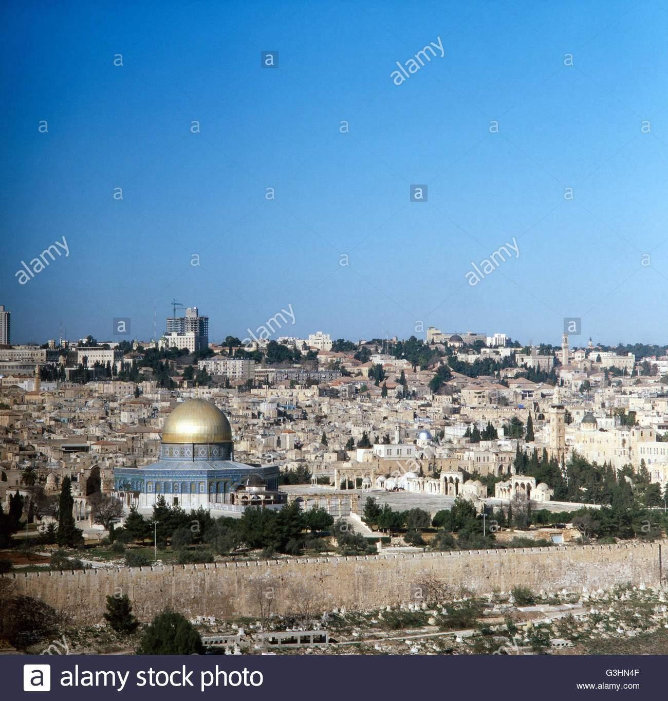 sterben sie aussicht vom olberg im garten semani auf jerusalem israel 1980er jahre blick vom olberg im garten hsemane auf der stadt von jerusalem israel der 1980er jahre g3hn4f