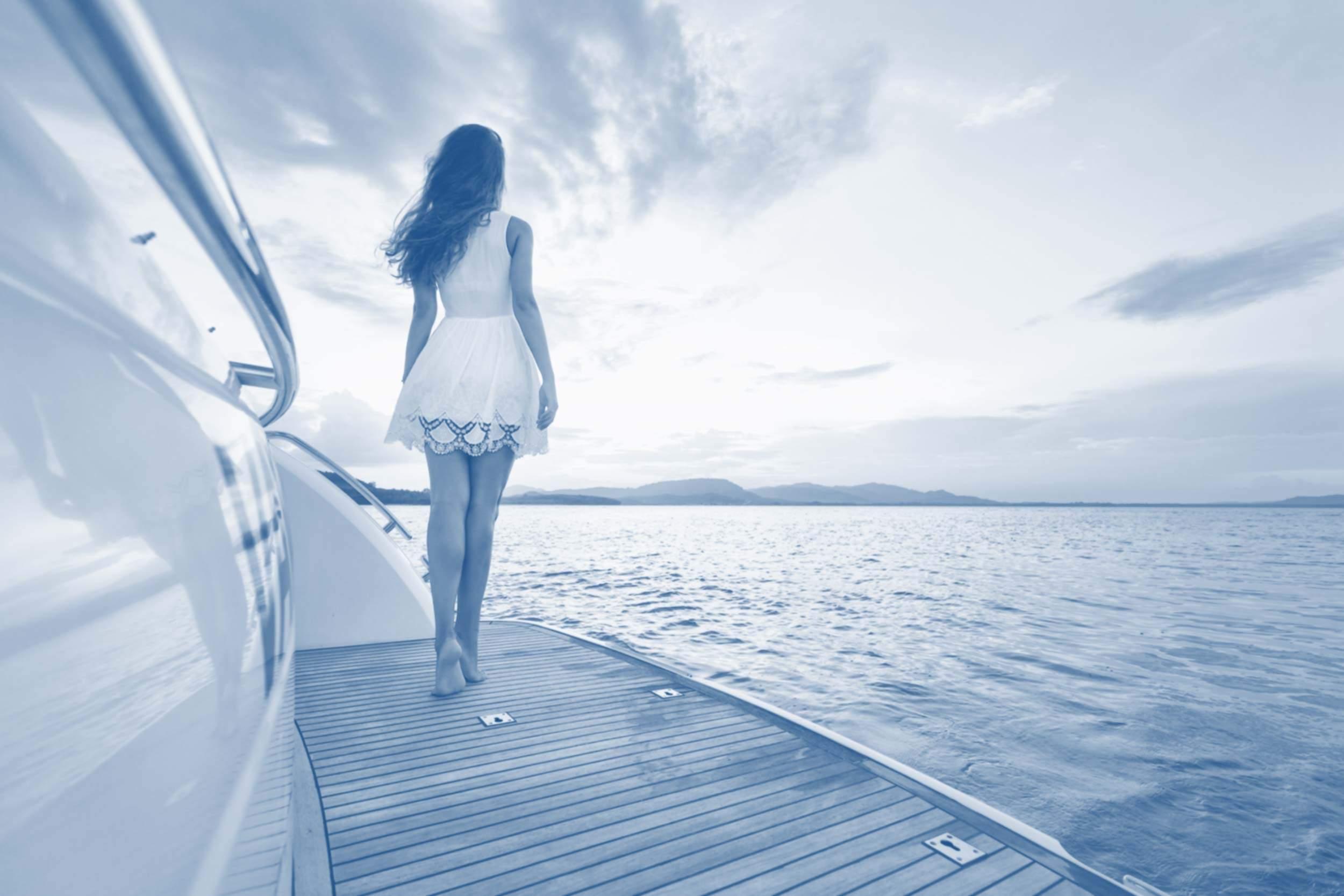 Hintergrund Frau Boot blauverlauf