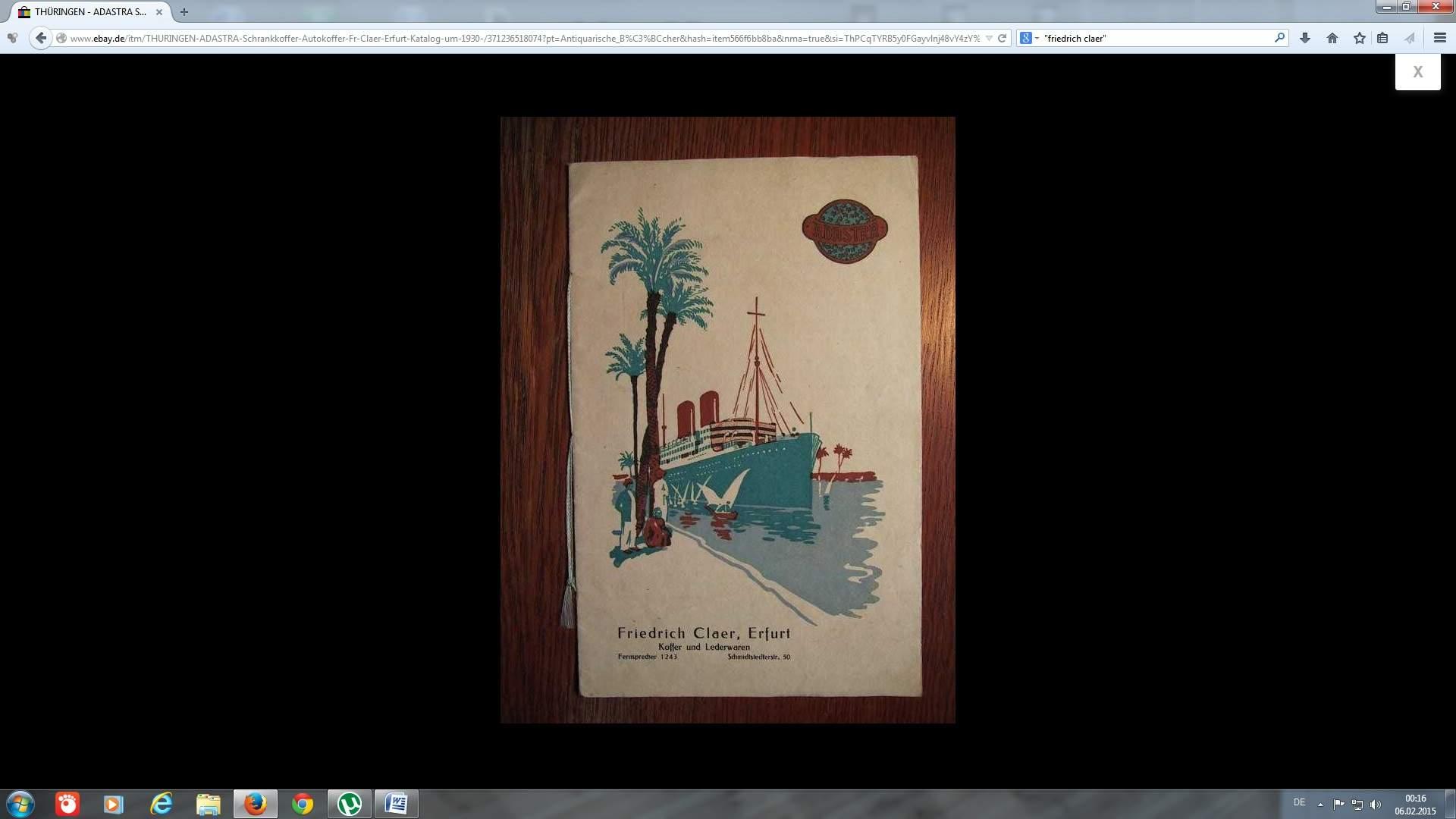 katalog friedrich claer koffer und lederwaren erfurt ca 1930