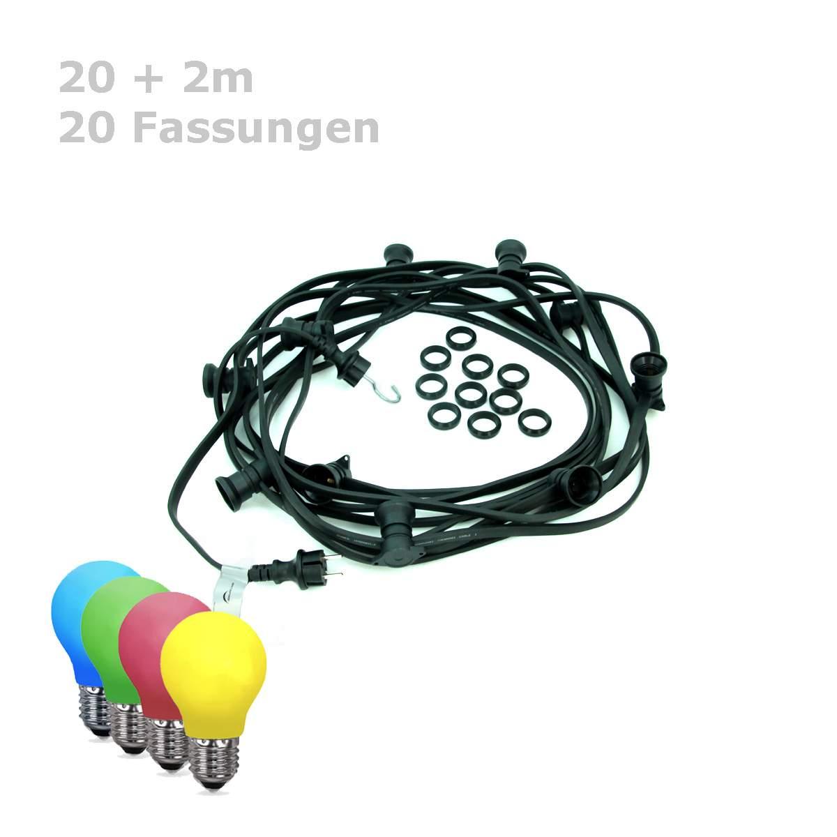 illu lichterkette aussen satisfire bunte 1W tropfenlampen 20meter 20fassungen