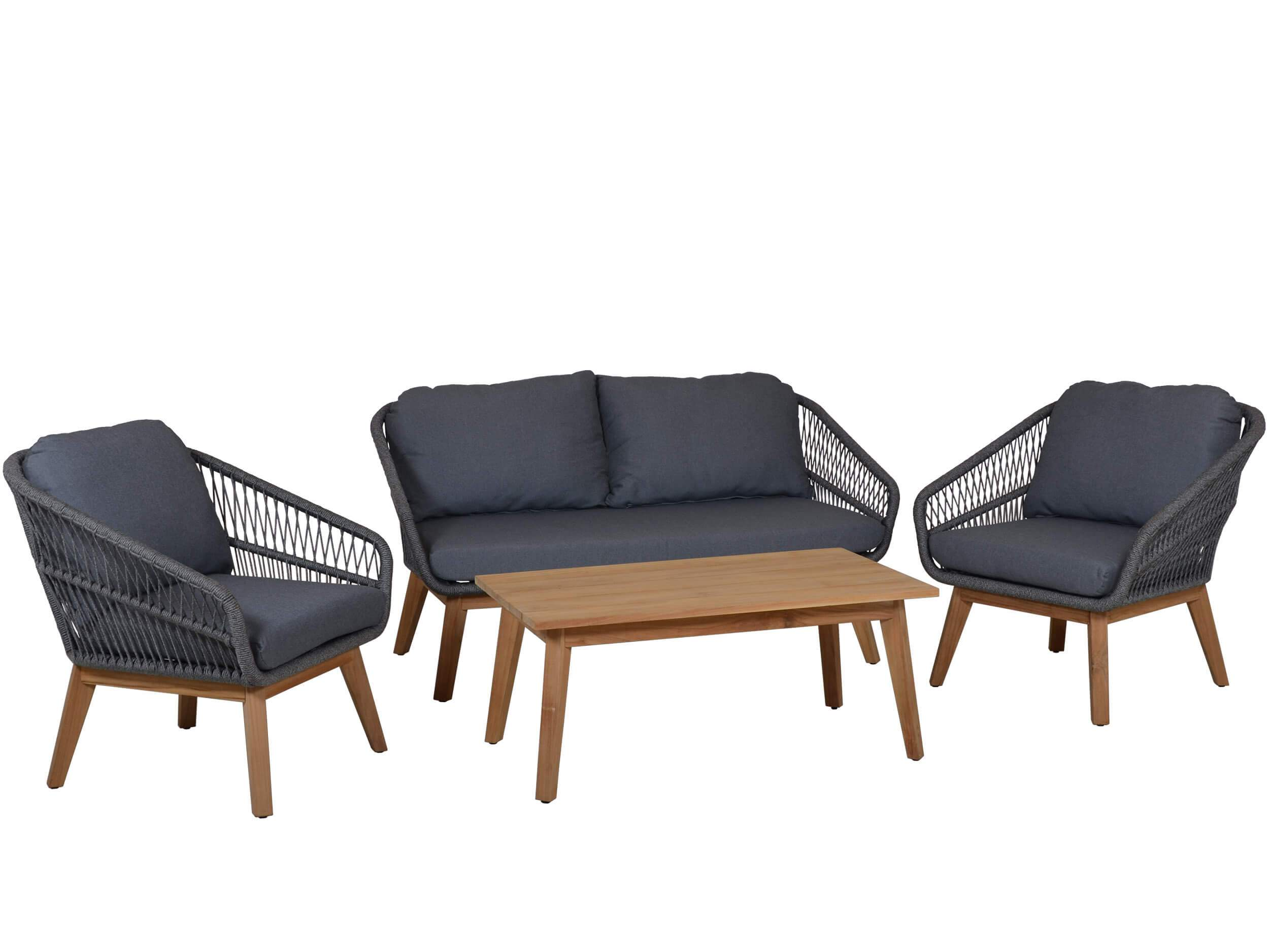 rope teak loungeset orchid grey
