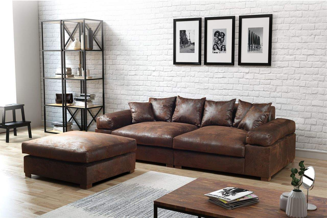 big sofa megasofa riesensofa arezzo vintage braun inkl hocker 1deeloia of loungesessel braun