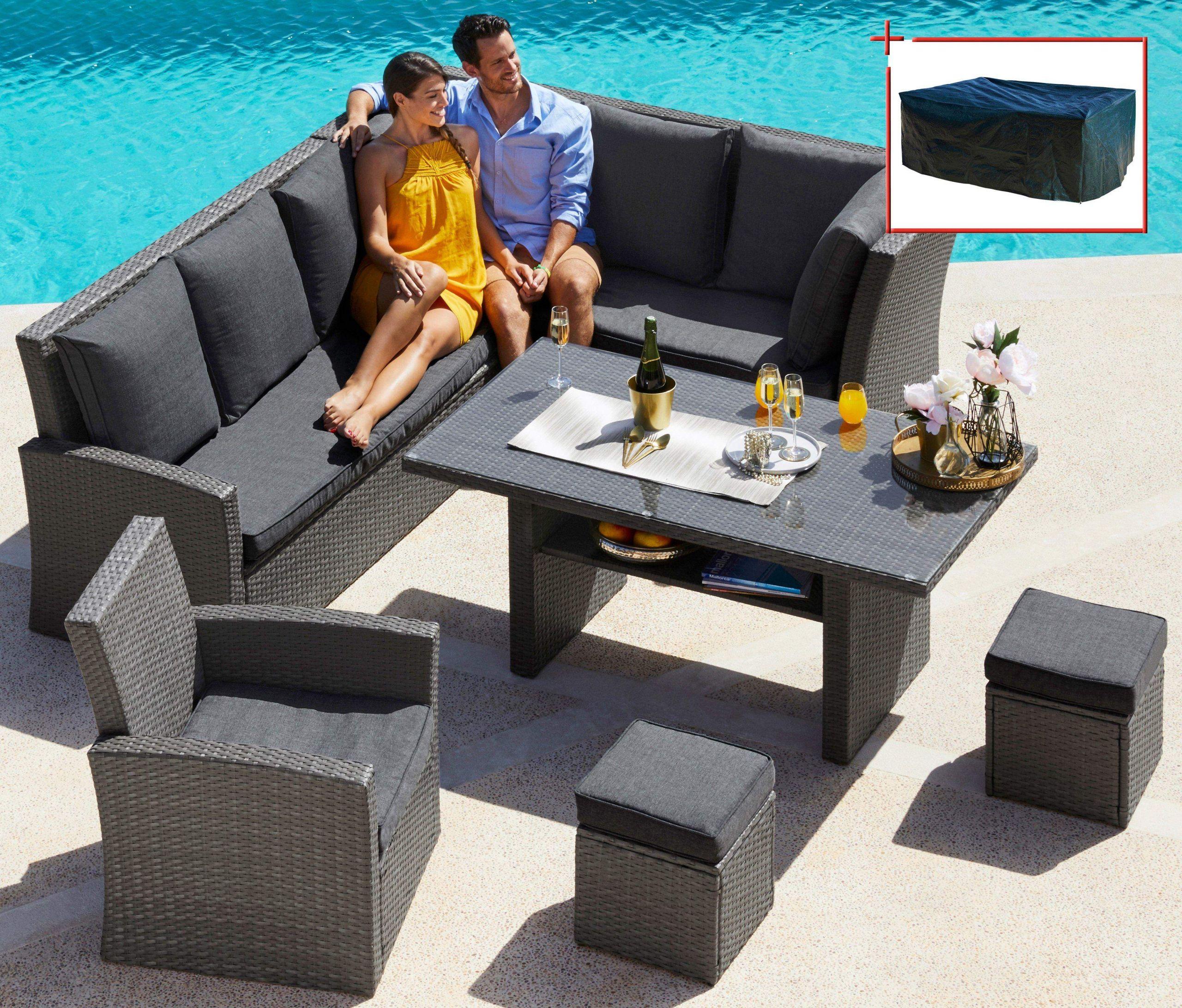 loungeset santorini premium 20 tlg eckbank sessel 2 hocker tisch polyrattan