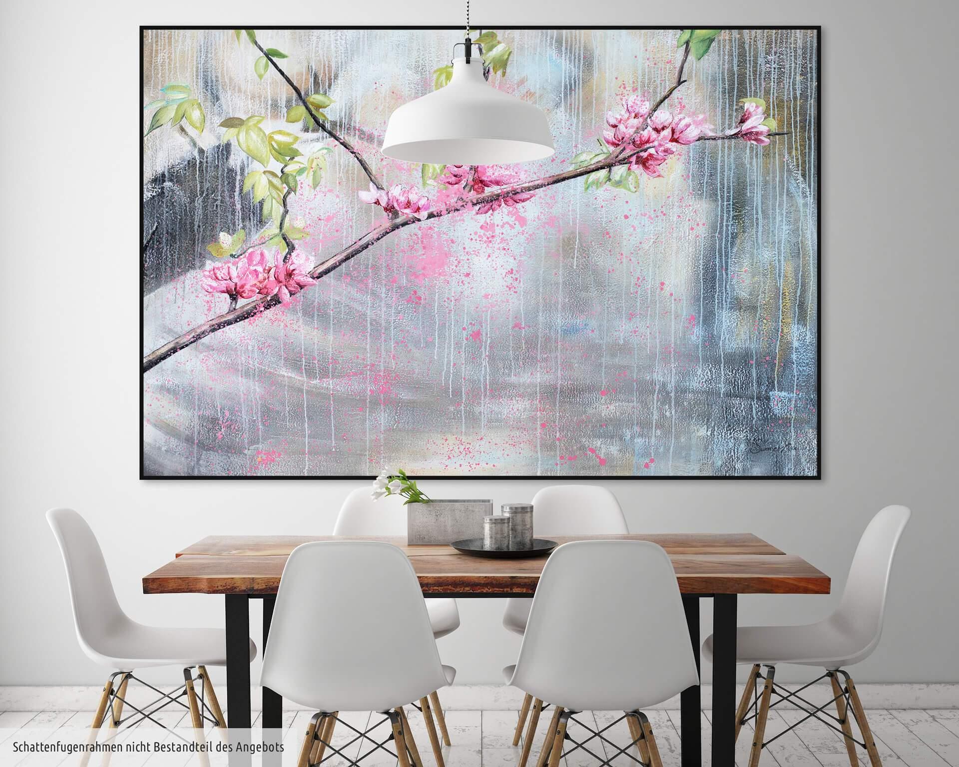 kl blueten beige rosa braun modern acryl gemaelde oel bild 0001 07