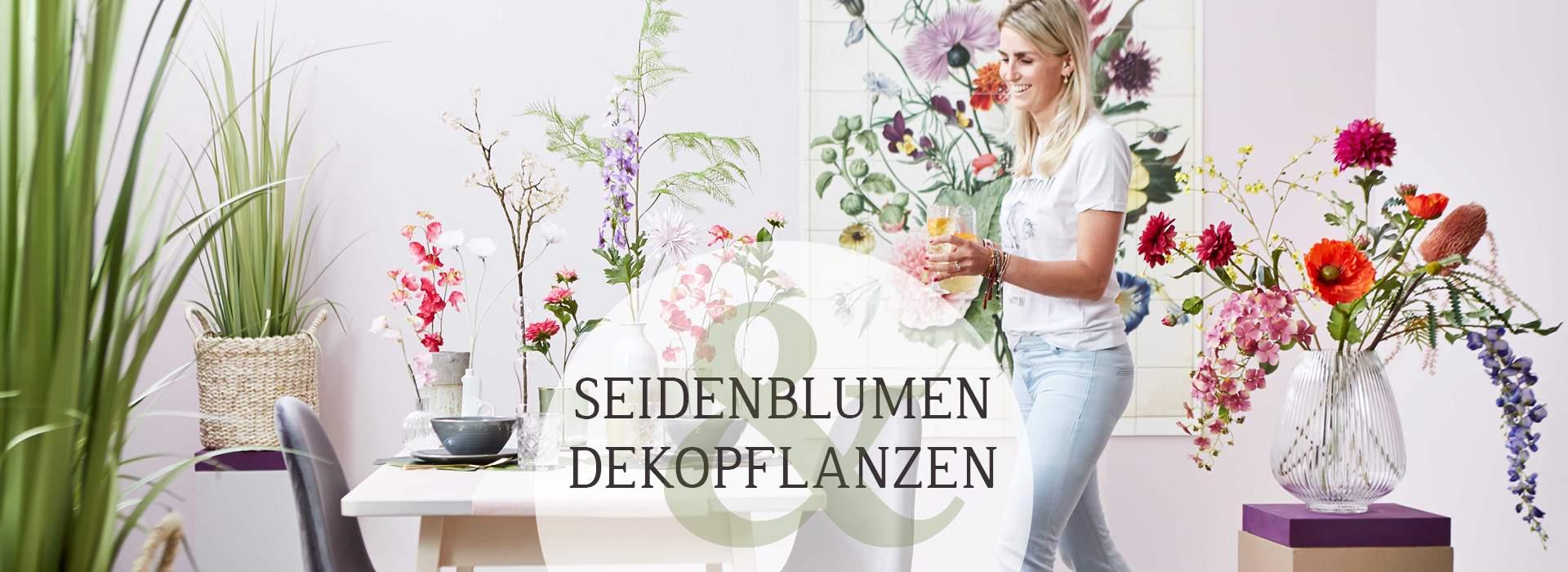 Seidenblumen und Dekoplanzen