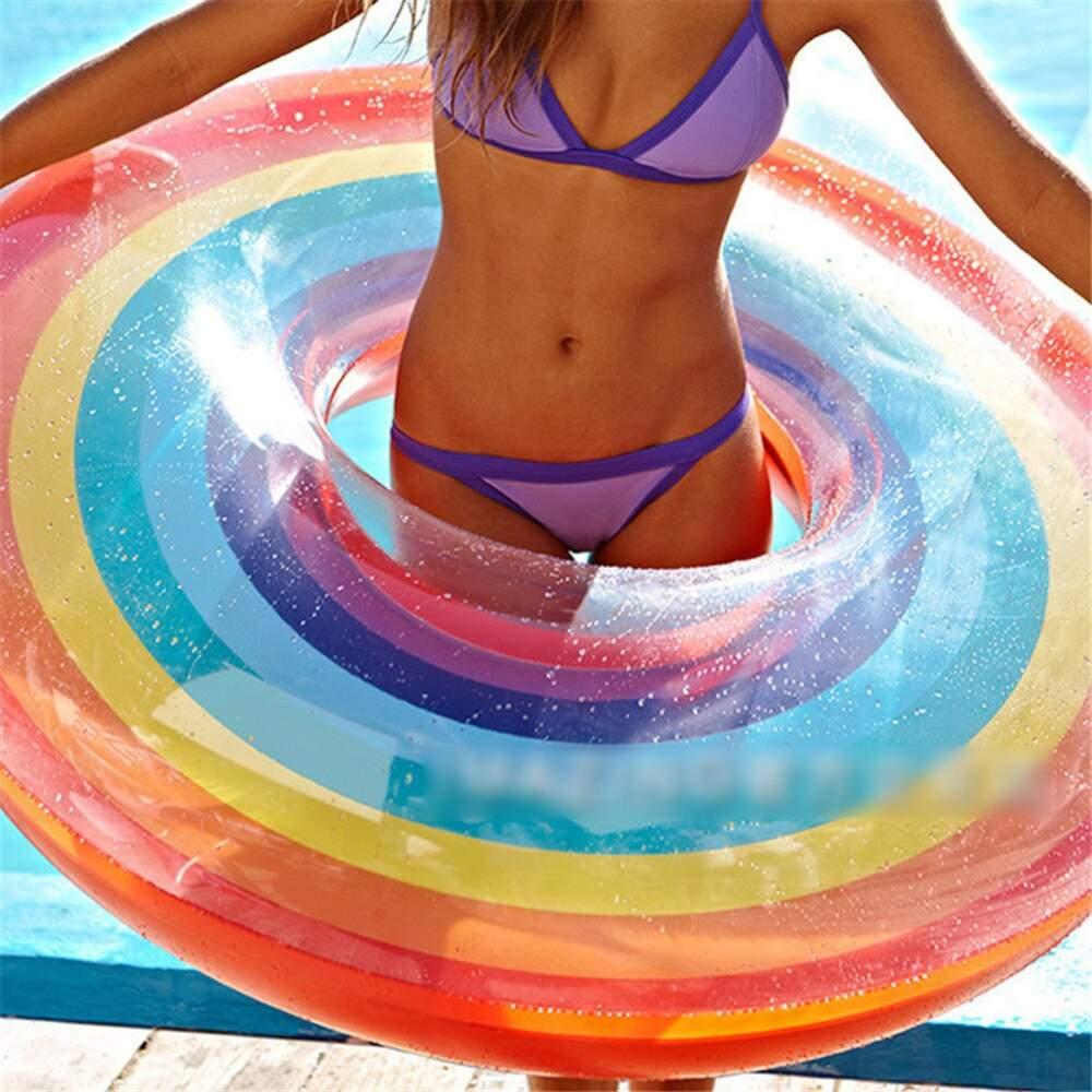 Wasser Sport Schwimmen Ringe PVC Aufblasbare Regenbogen Pool Schmuck Schwimmen Ring Dicker Schwimm Ring Rettungsring F