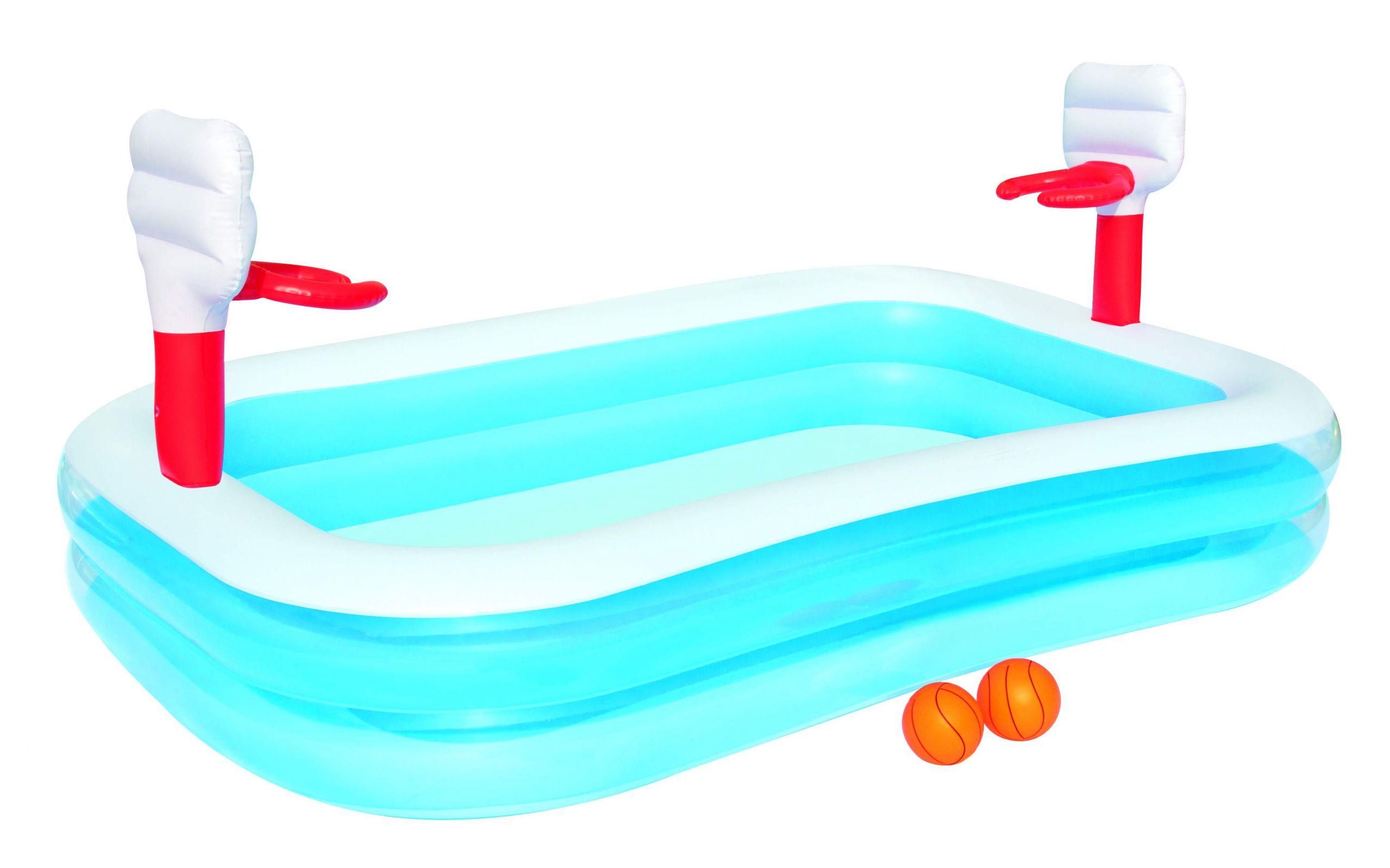 "Garten Pool Aufblasbar Neu Pool ""sports"" 251x168x102cm Blau Weiß Rot Aufblasbar Basketball Sportpool Spielpool"