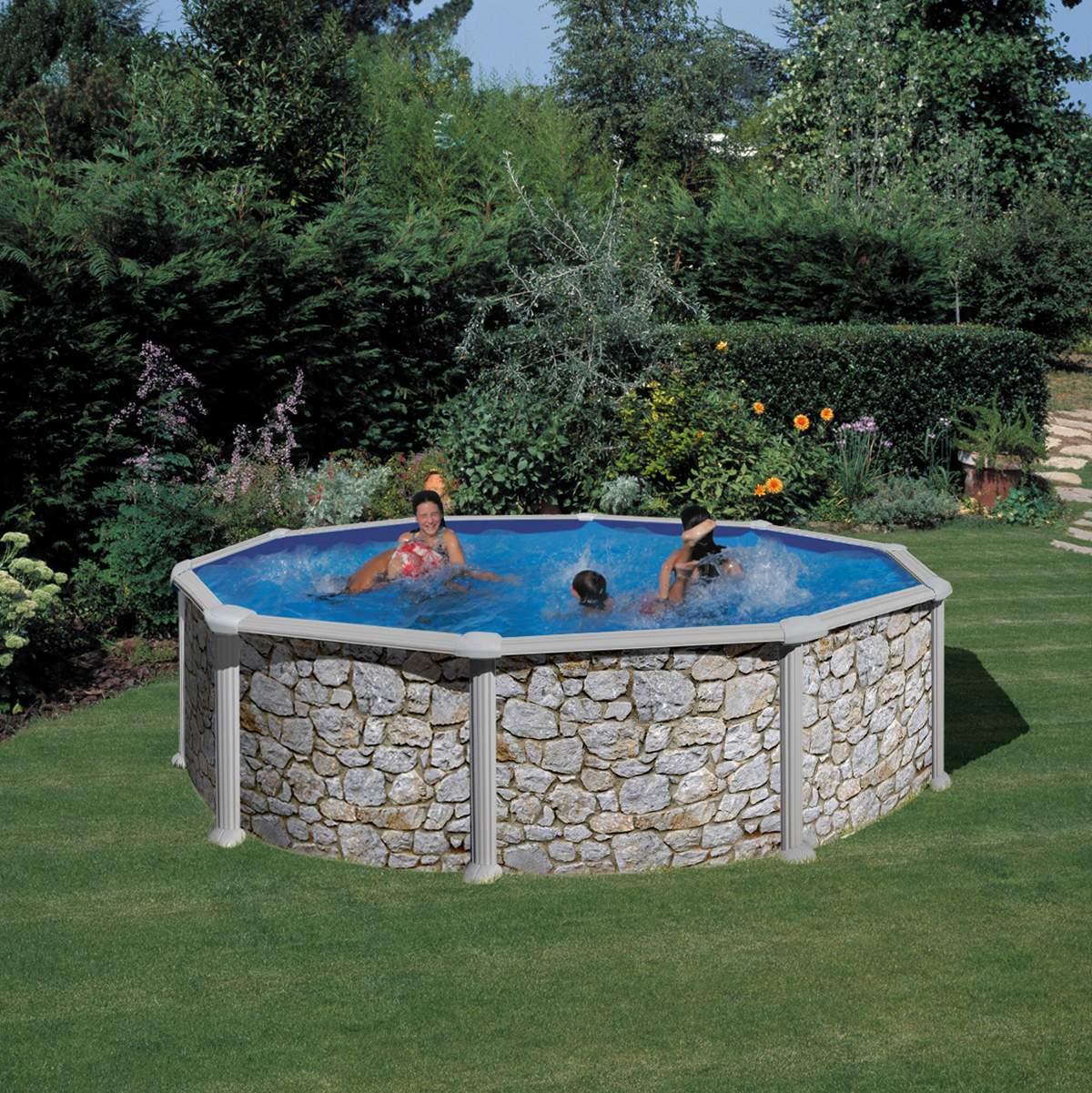 Steindekor Pool rund