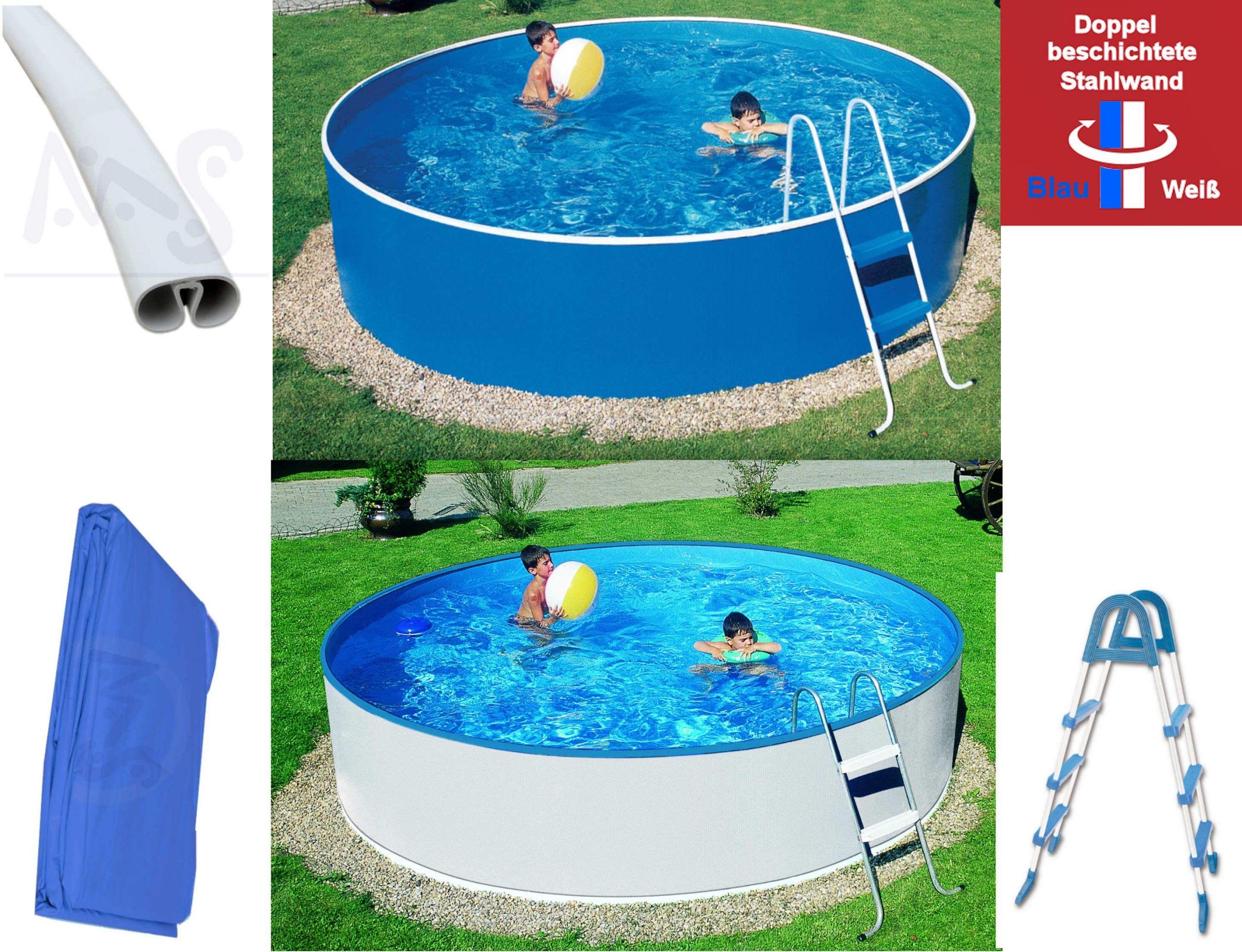 Pool blau weiss mit Leiter