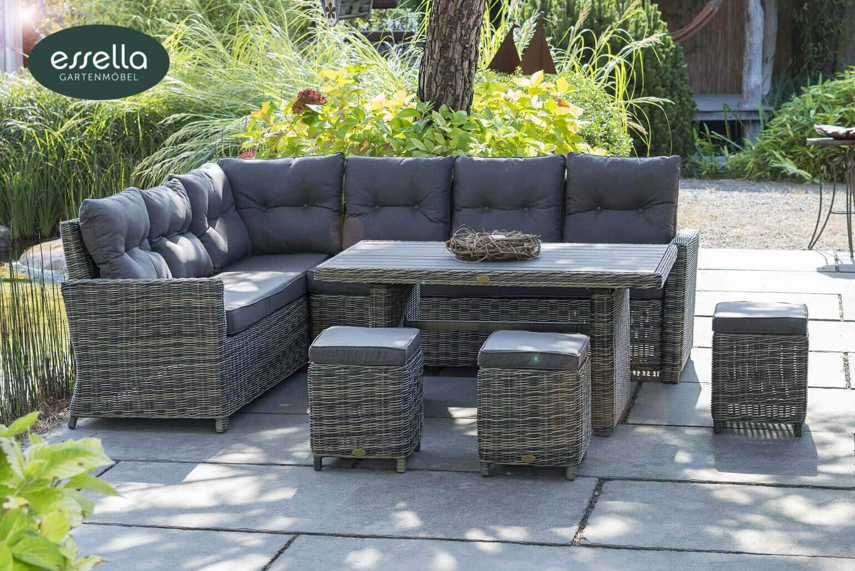 essella polyrattan loungemoebel sitzgruppe palma natur optik rundgeflecht