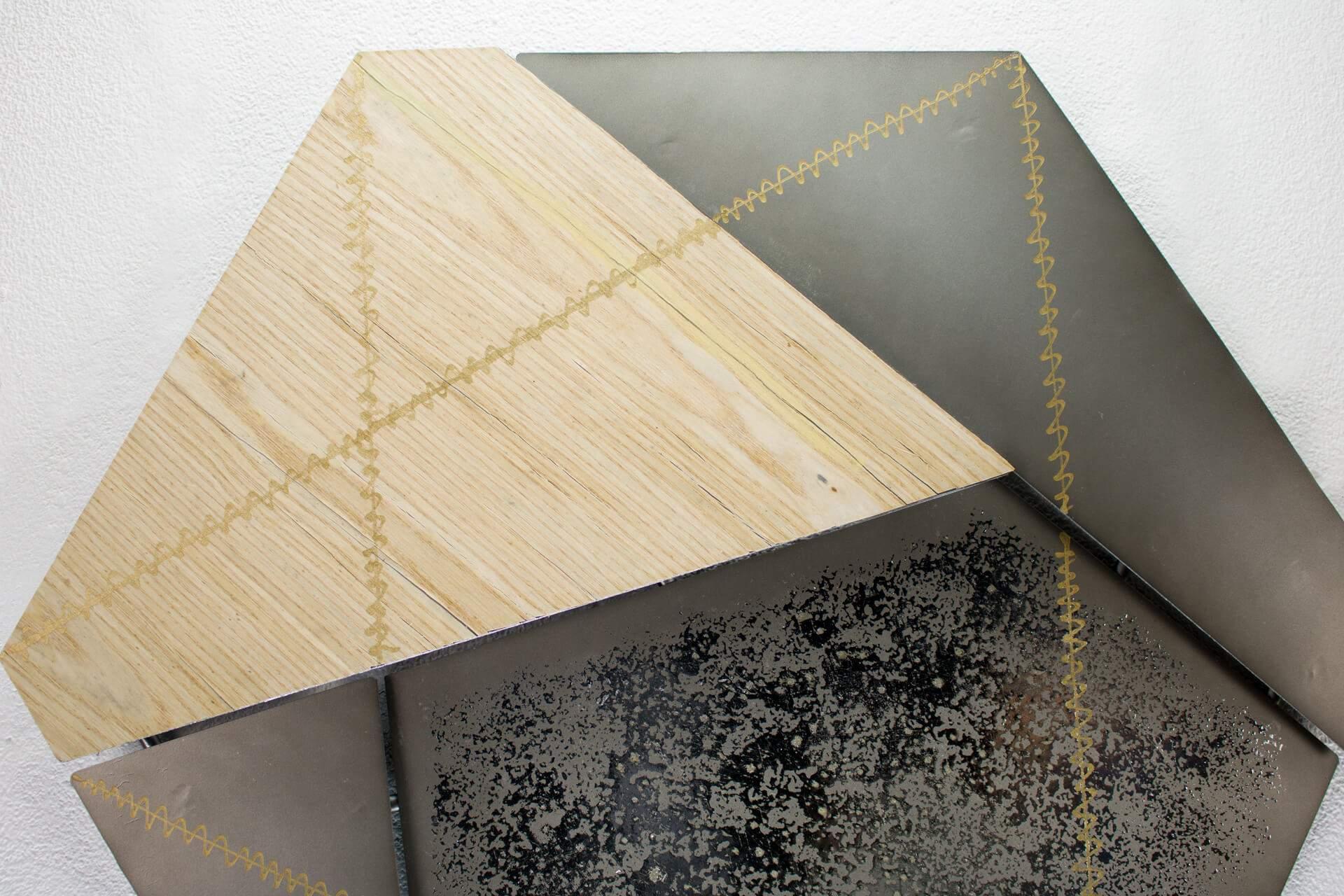 KL abstrakt fuenfeck gelb grau wanddeko metall wandskulptur wandbilder aus metall 08