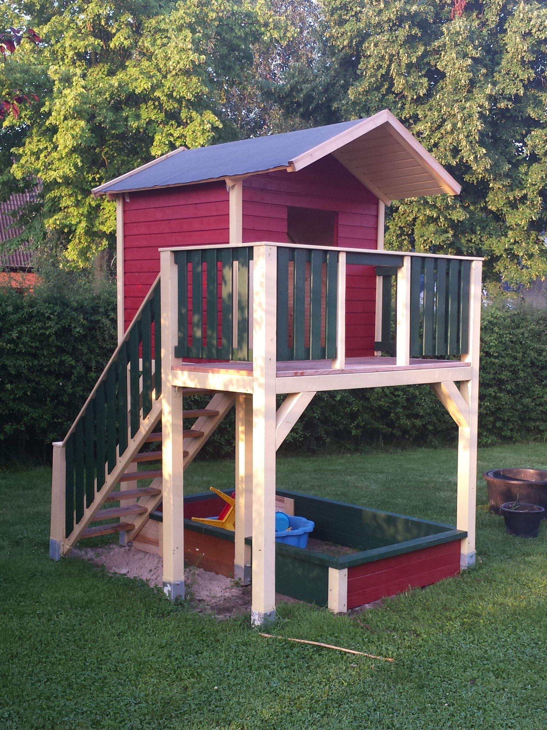 Garten Spielhaus Holz Reizend Spielturm Mit Treppe Bauanleitung Zum Selber Bauen