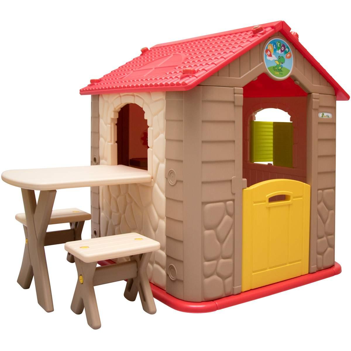 kinderspielhaus inkl tisch und 2 banken kunststoff spielhaus a
