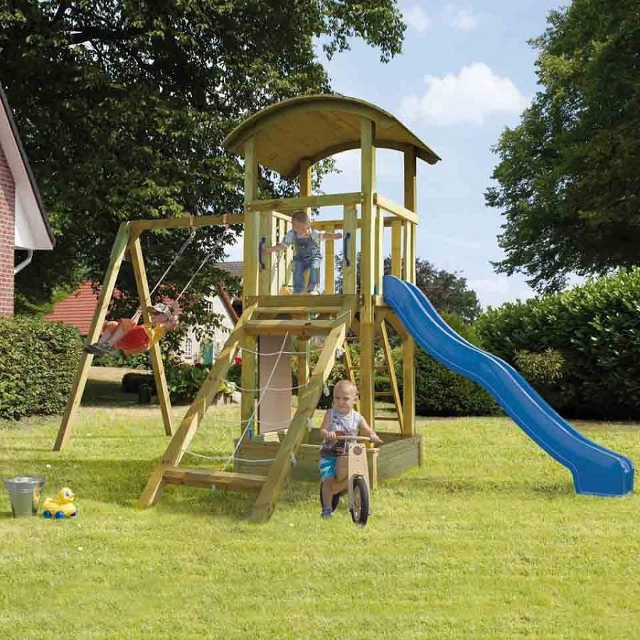 karibu sparset kinderspielturm pfiffikus mit tonnendach