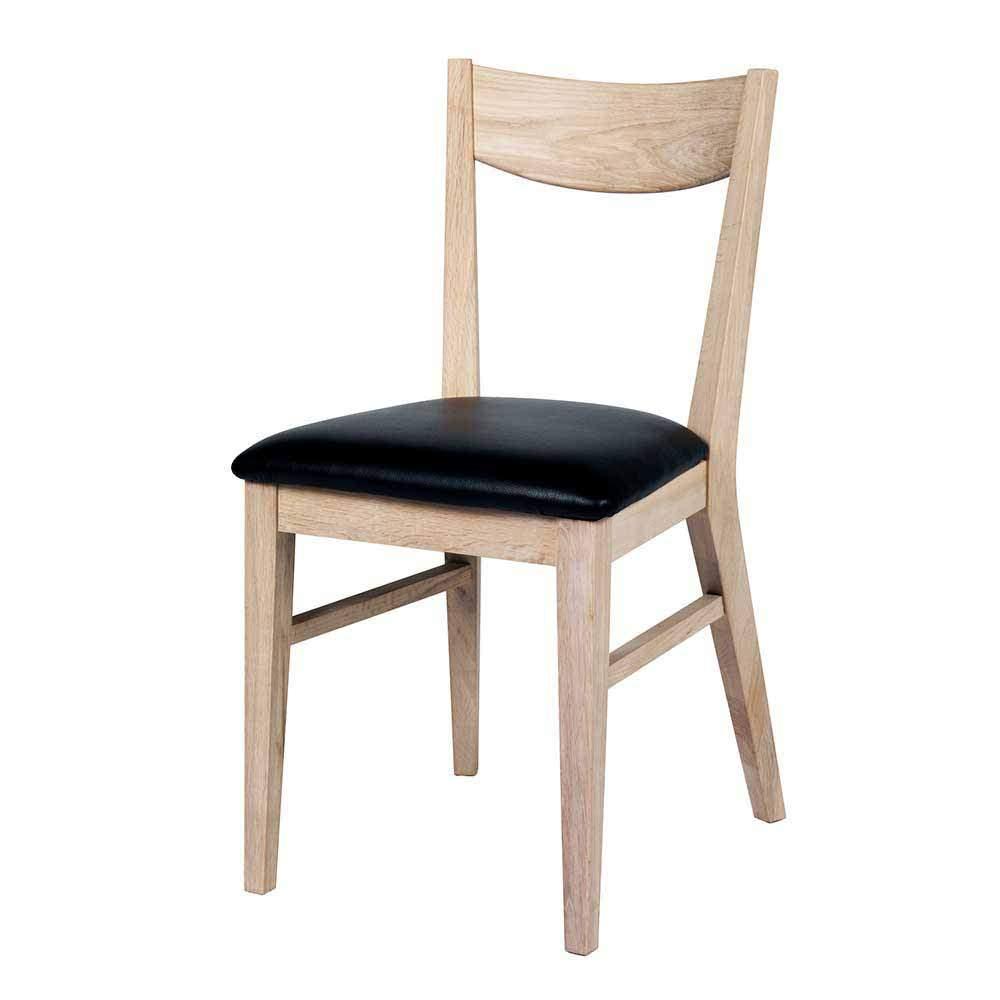 klassischer kuechenstuhl aus holz eiche kunstleder schwarz prudion f