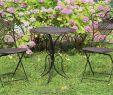Garten Stuhl Elegant Gartenset Tisch 2x Stuhl Eisen Gartengarnitur Braun Bistroset Metall Garten Set